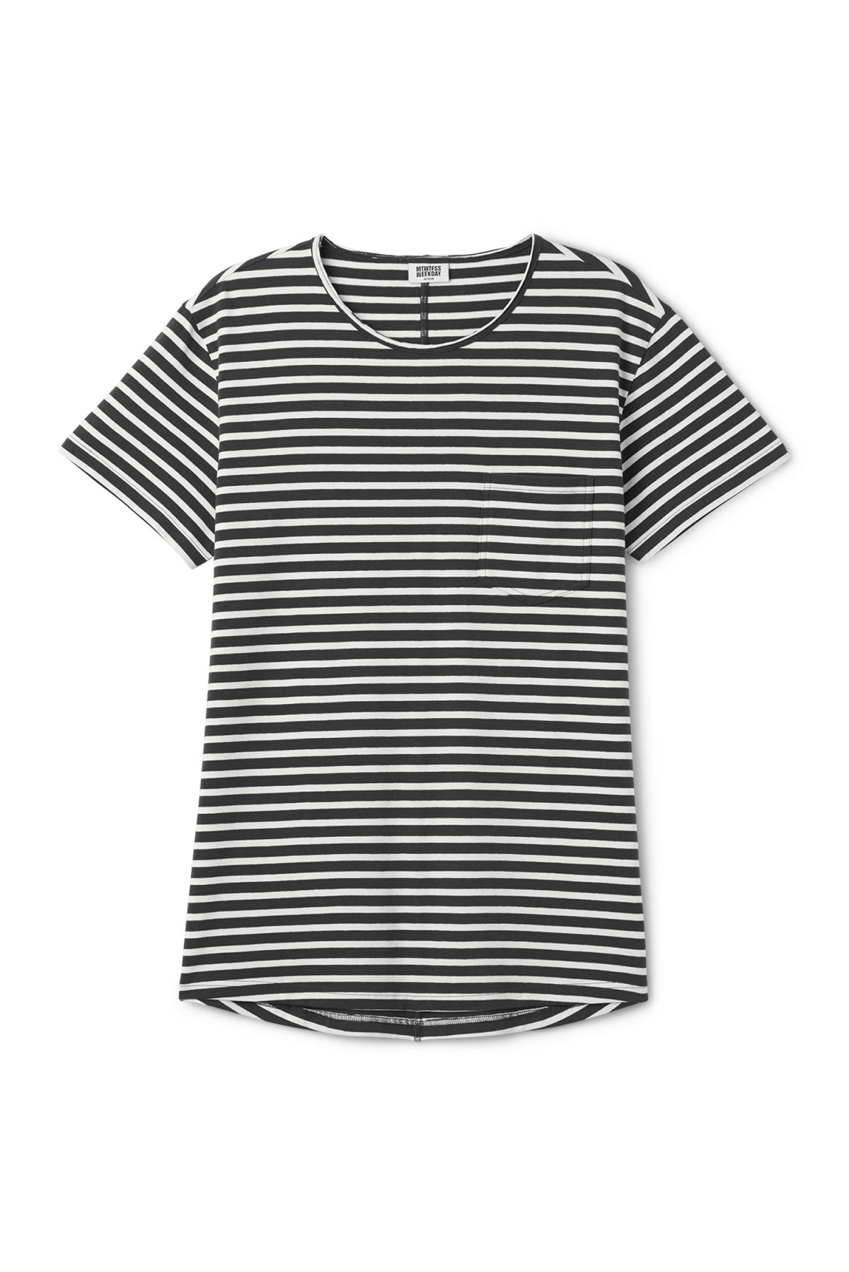 Front image of Weekday rumour striped t-shirt in grey