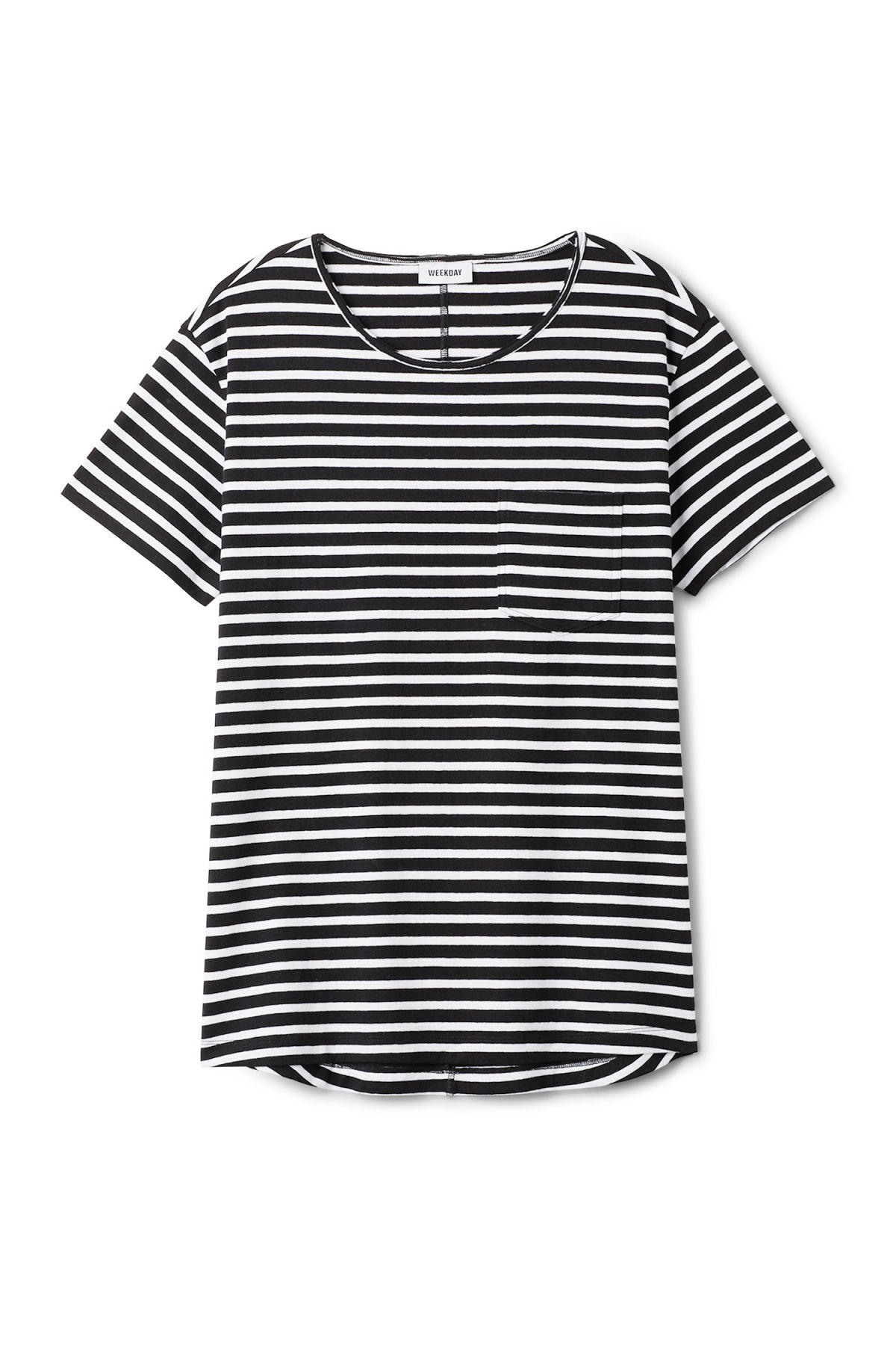 Front image of Weekday rumour striped t-shirt in black