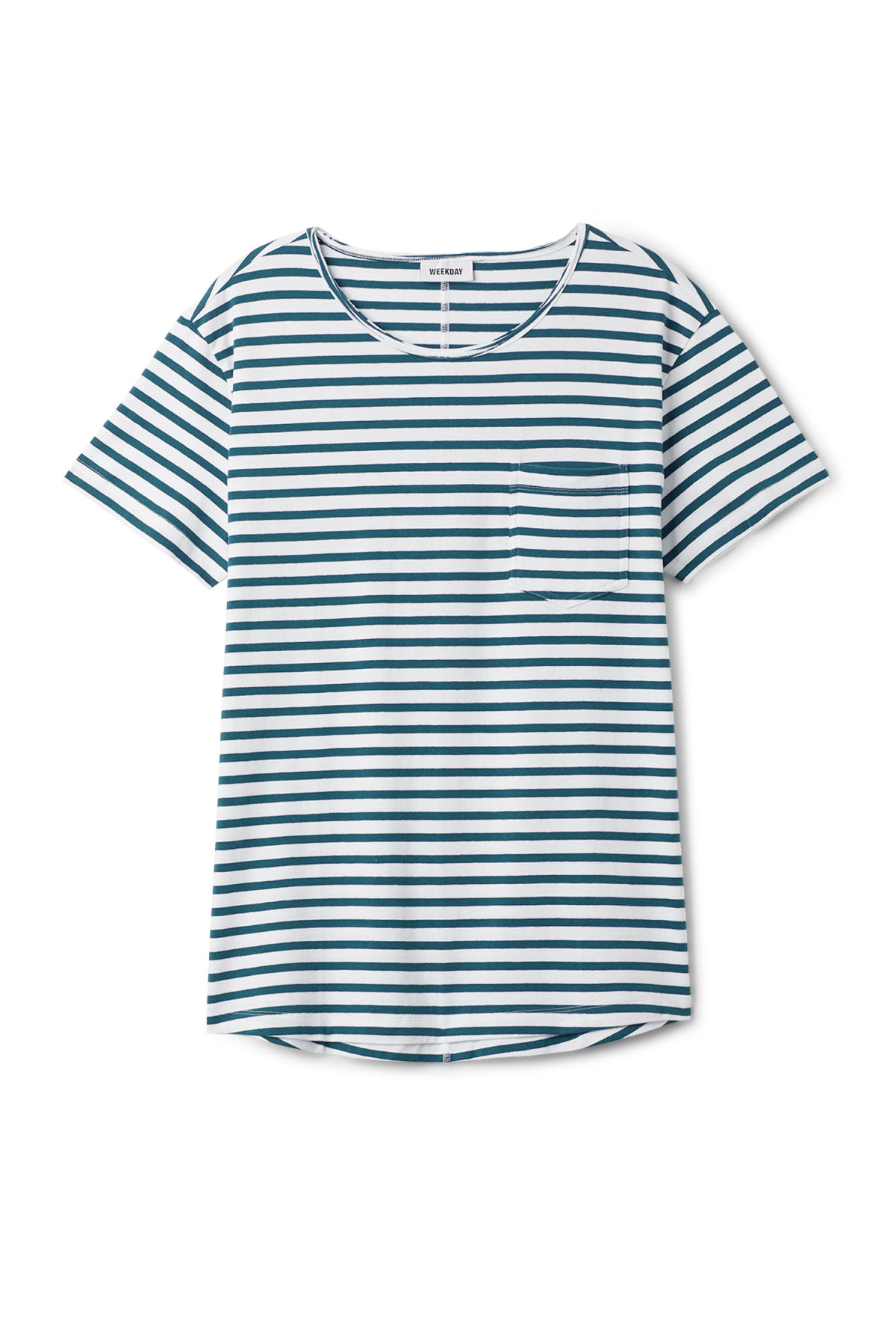 Front image of Weekday rumour striped t-shirt in blue