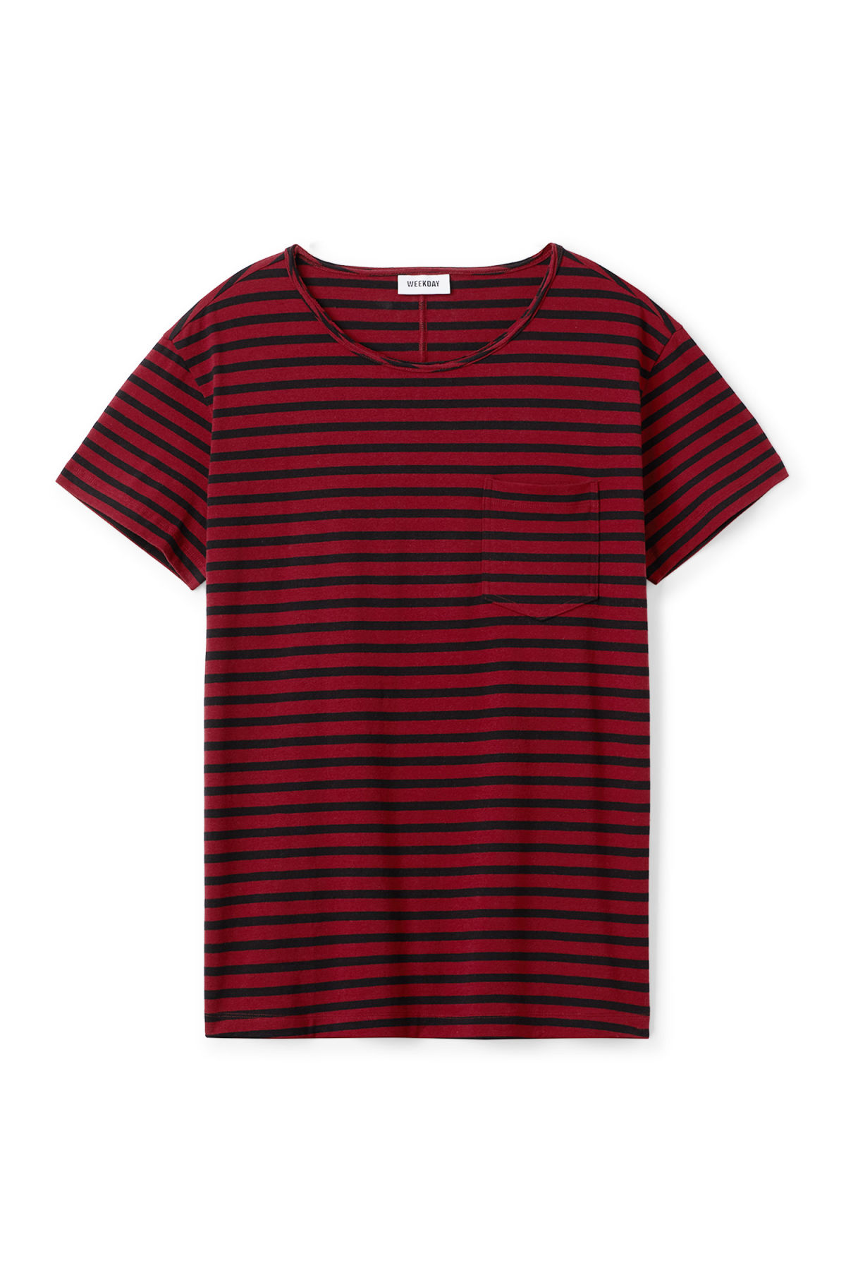 Front image of Weekday rumour striped t-shirt in red