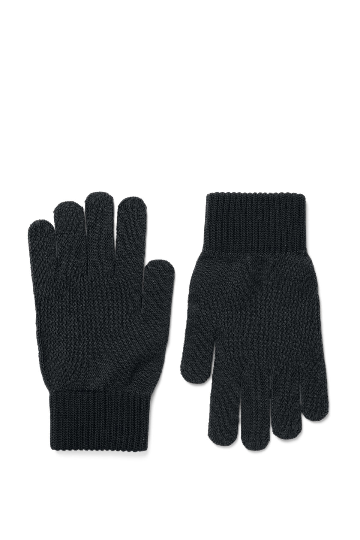 Front image of Weekday uni knit gloves in black