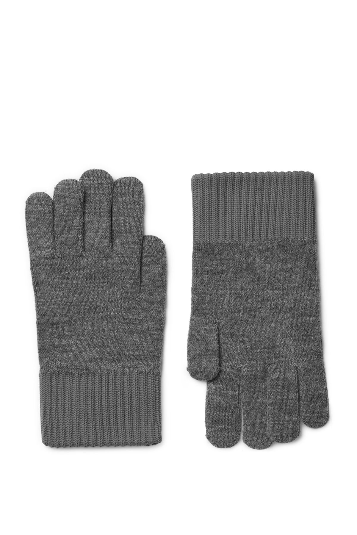 Front image of Weekday uni knit gloves in grey