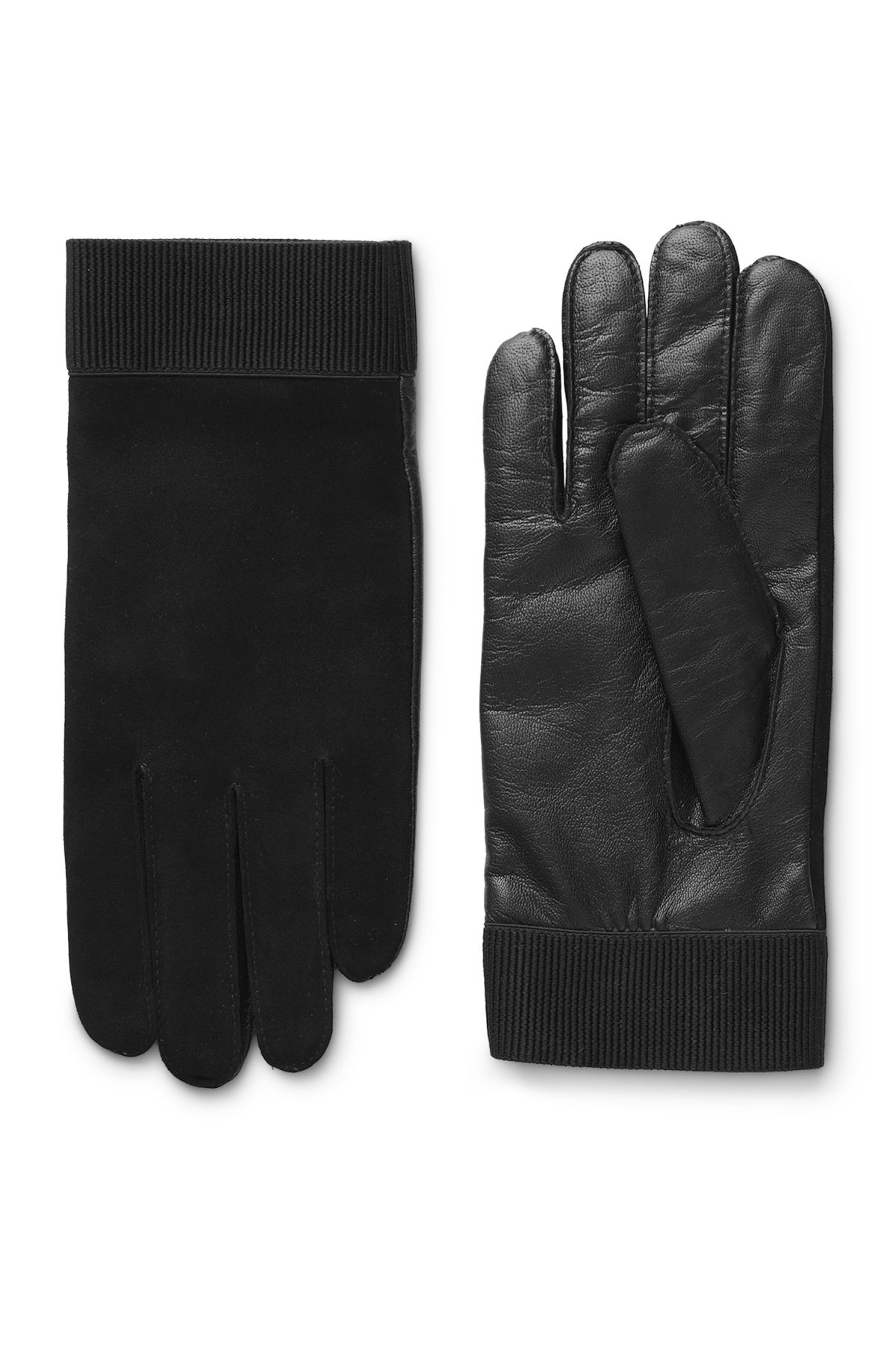 Front image of Weekday issue leather gloves in black