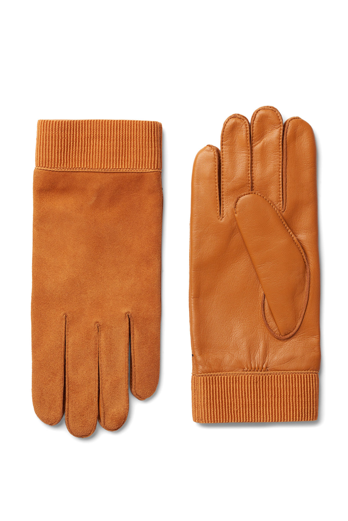 Front image of Weekday issue leather gloves in orange