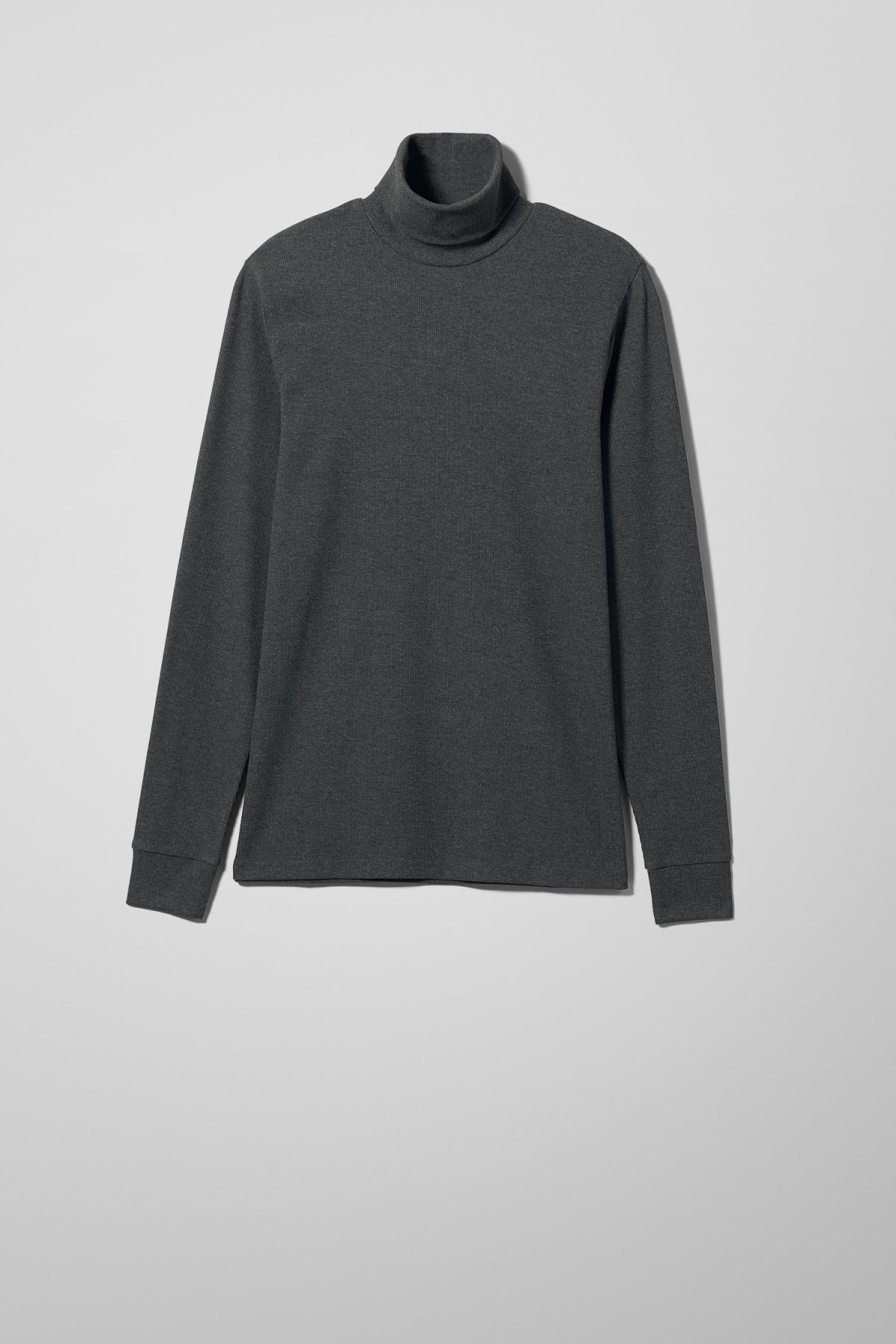 Front image of Weekday turtle rib long sleeve in black