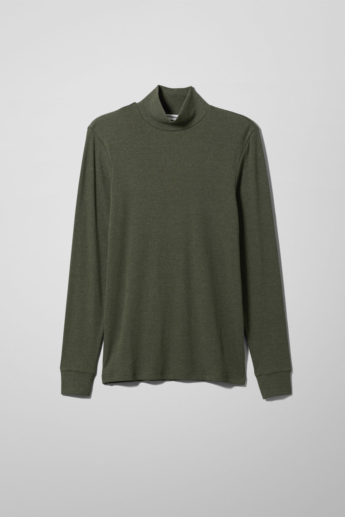 Front image of Weekday turtle rib long sleeve in green