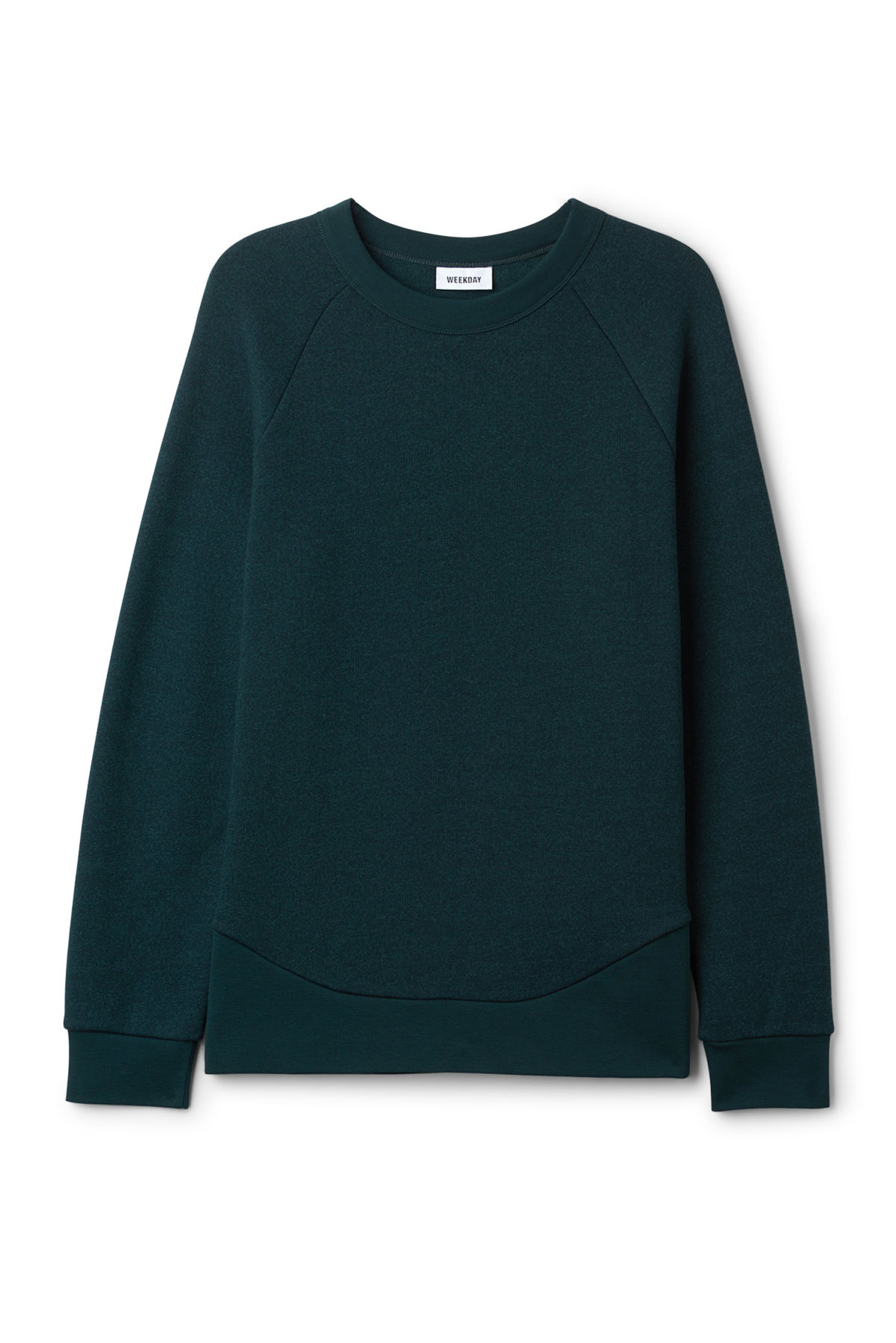 Front image of Weekday milky sweatshirt in turquoise