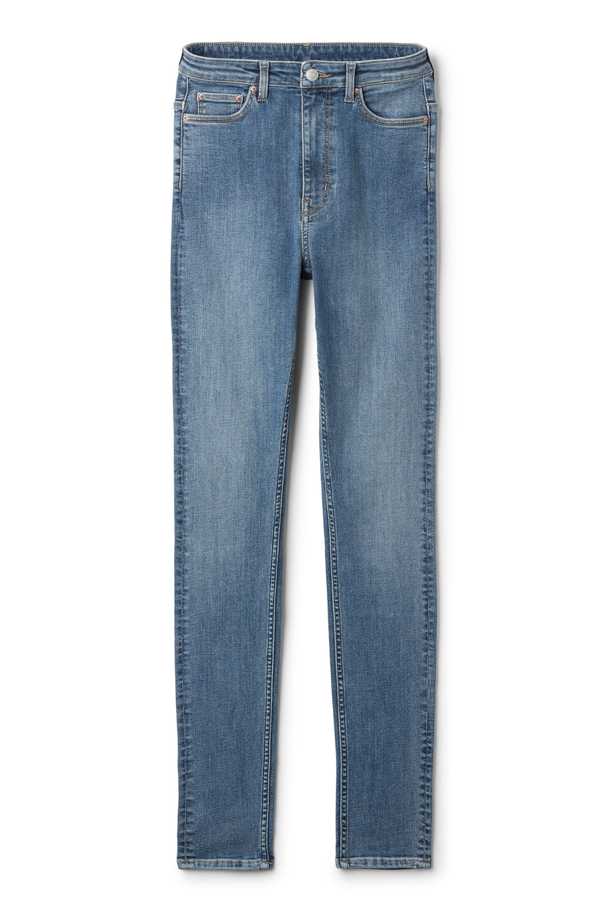 Front image of Weekday body high peer blue jeans in blue