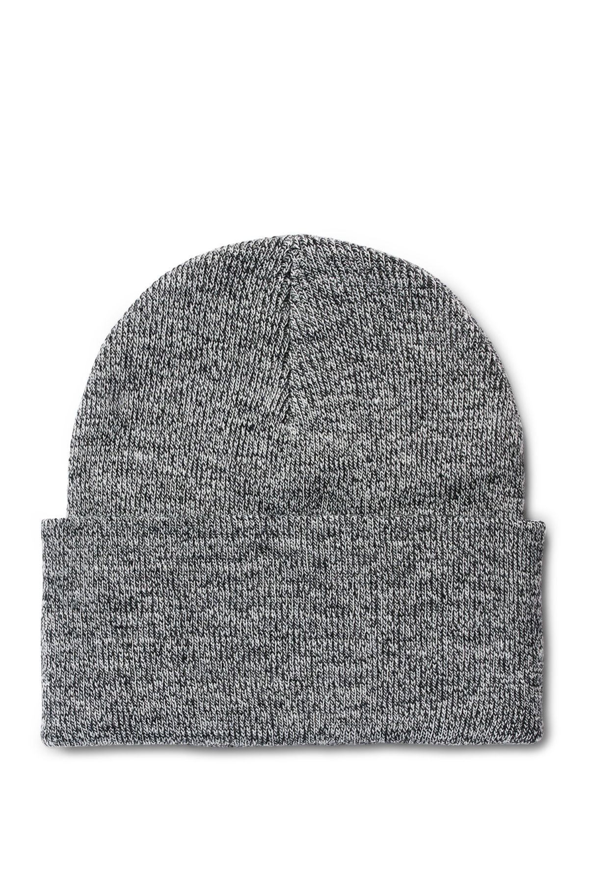 Front image of Weekday salty knit beanie in black