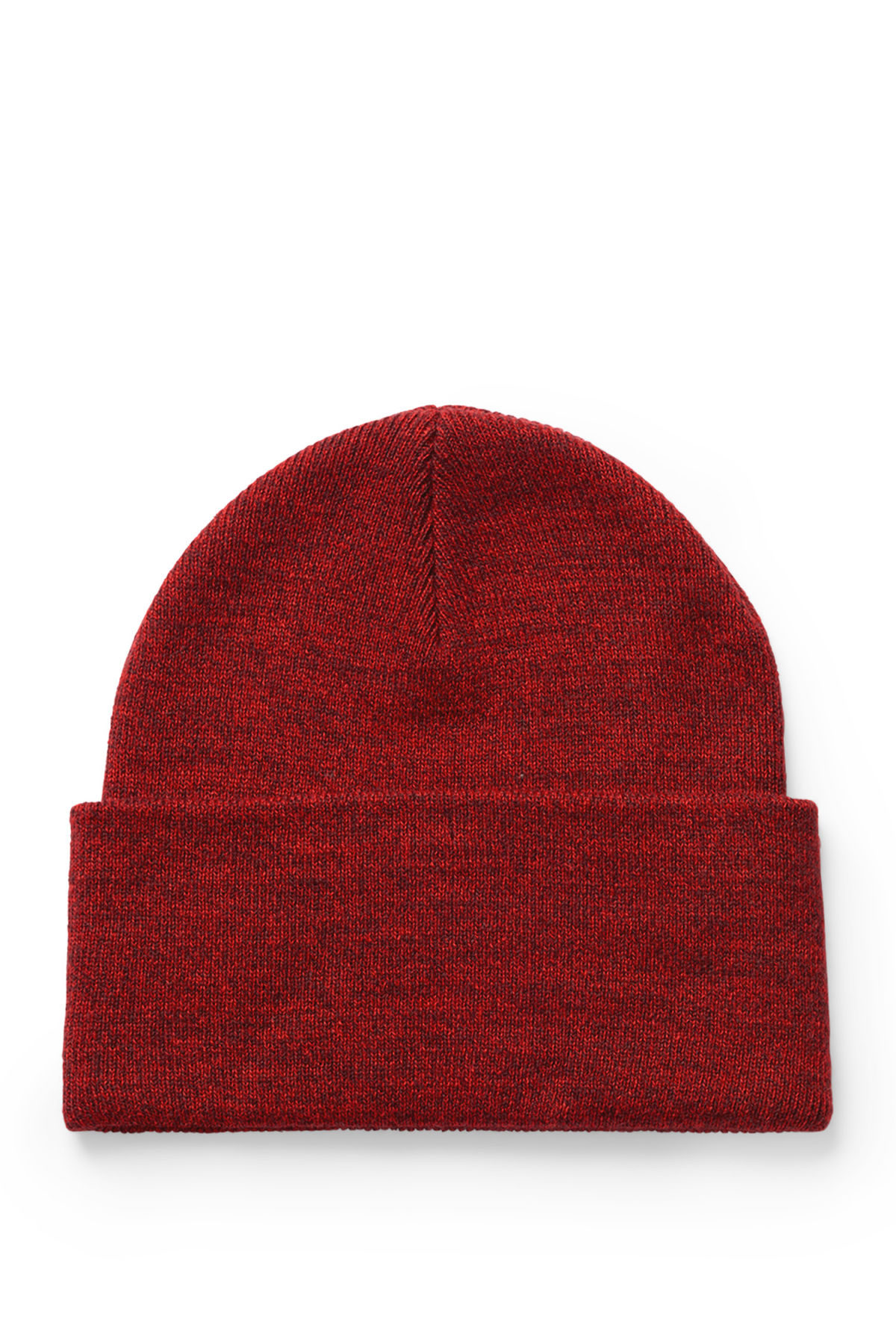 Front image of Weekday salty knit beanie in red