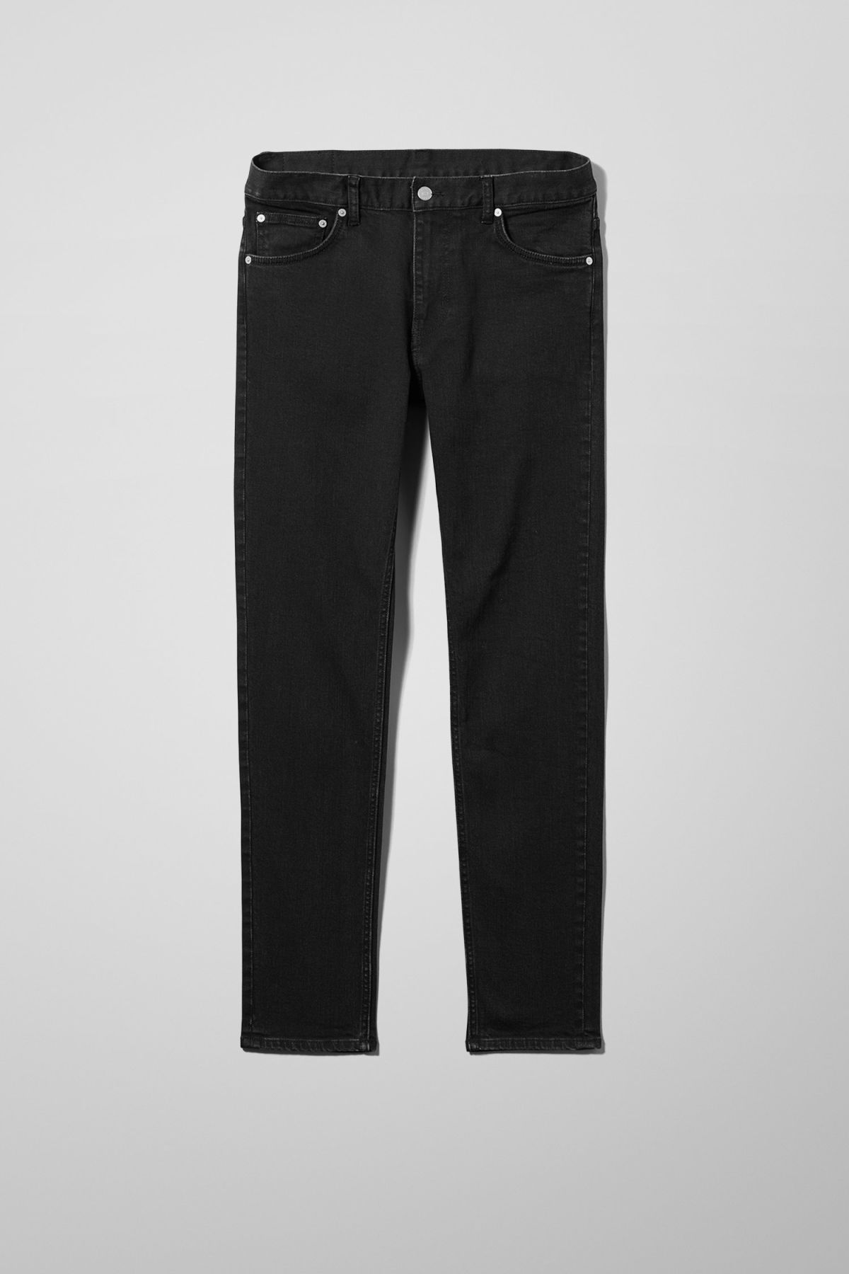 Front image of Weekday friday tuned black jeans in black