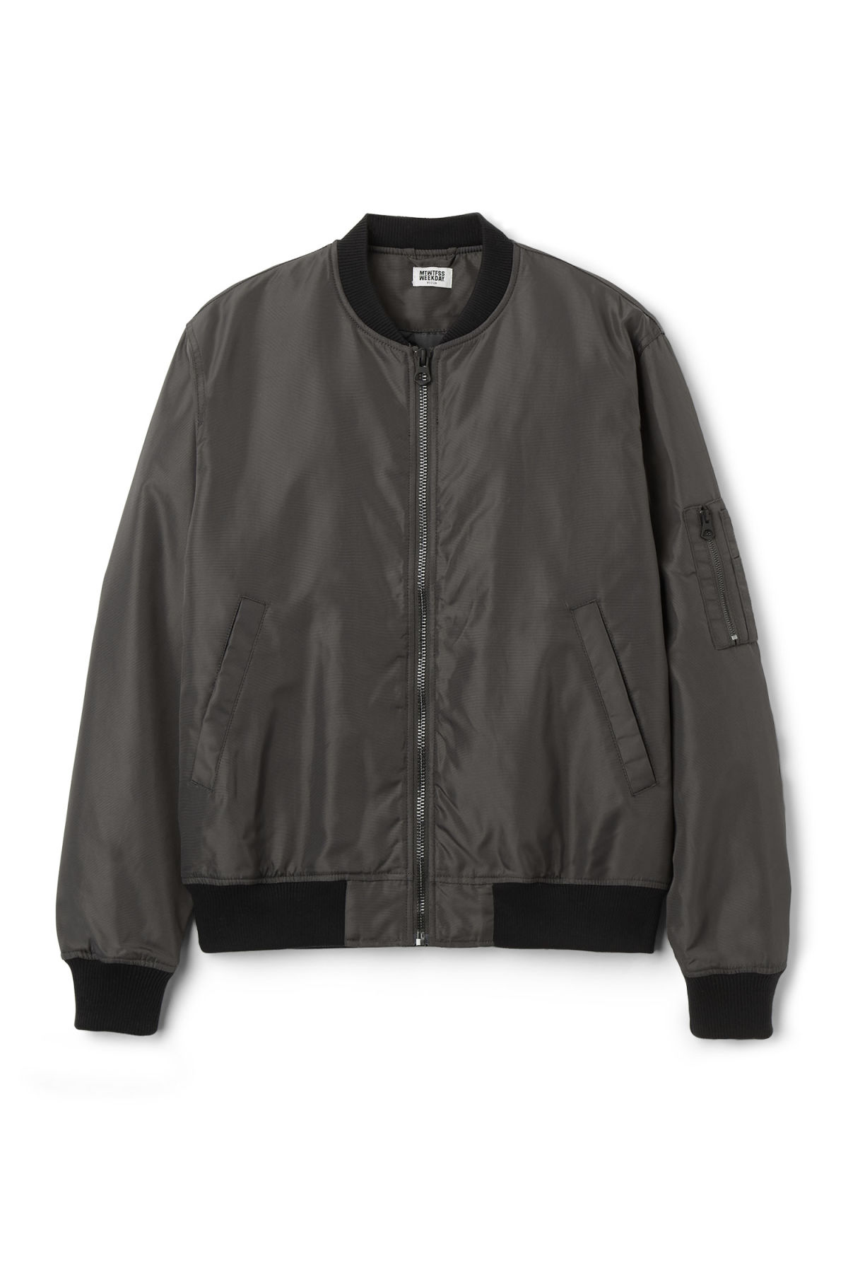 Front image of Weekday mission bomber in grey