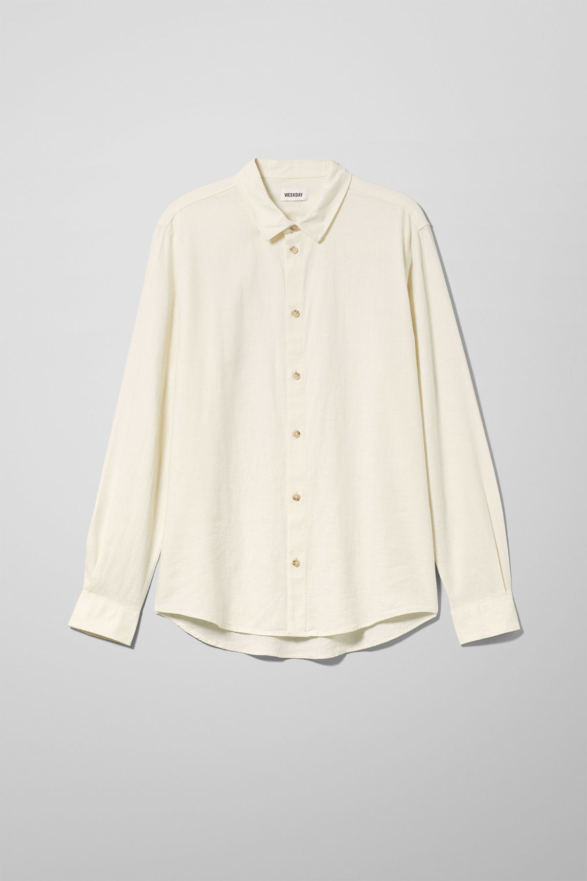 Front image of Weekday lead linen shirt in white