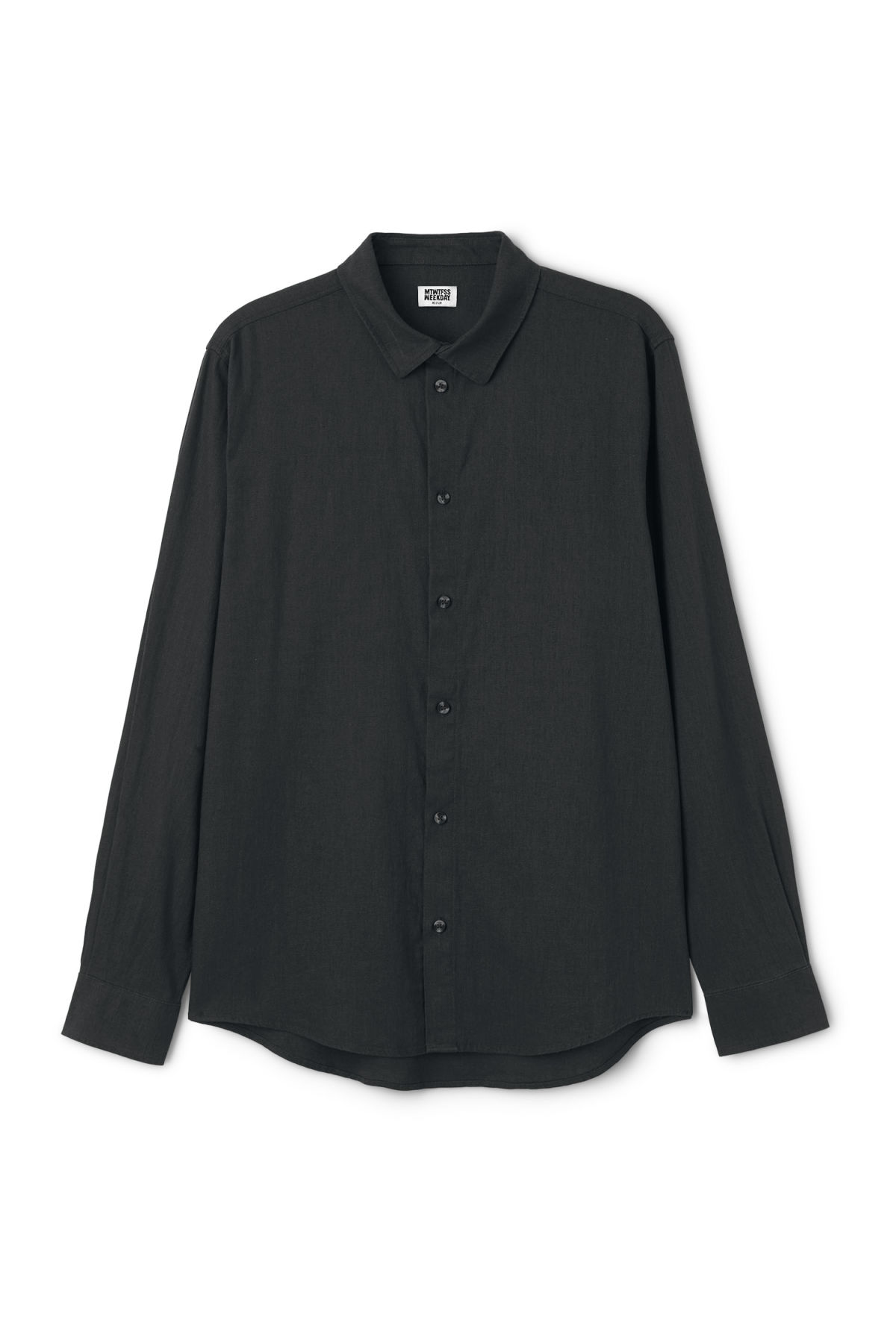 Front image of Weekday lead linen shirt in black