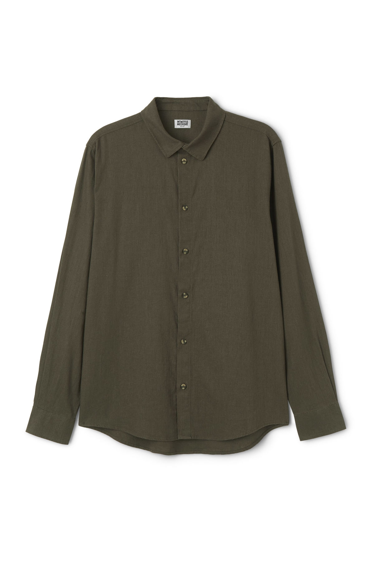 Front image of Weekday lead linen shirt in green