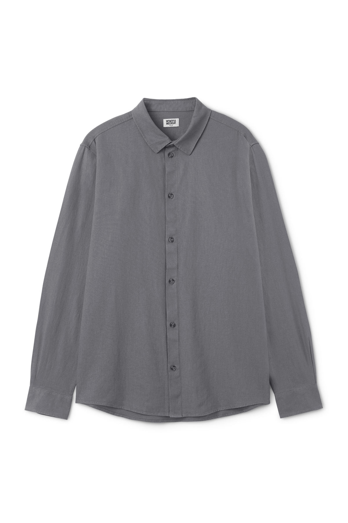 Front image of Weekday lead linen shirt in grey