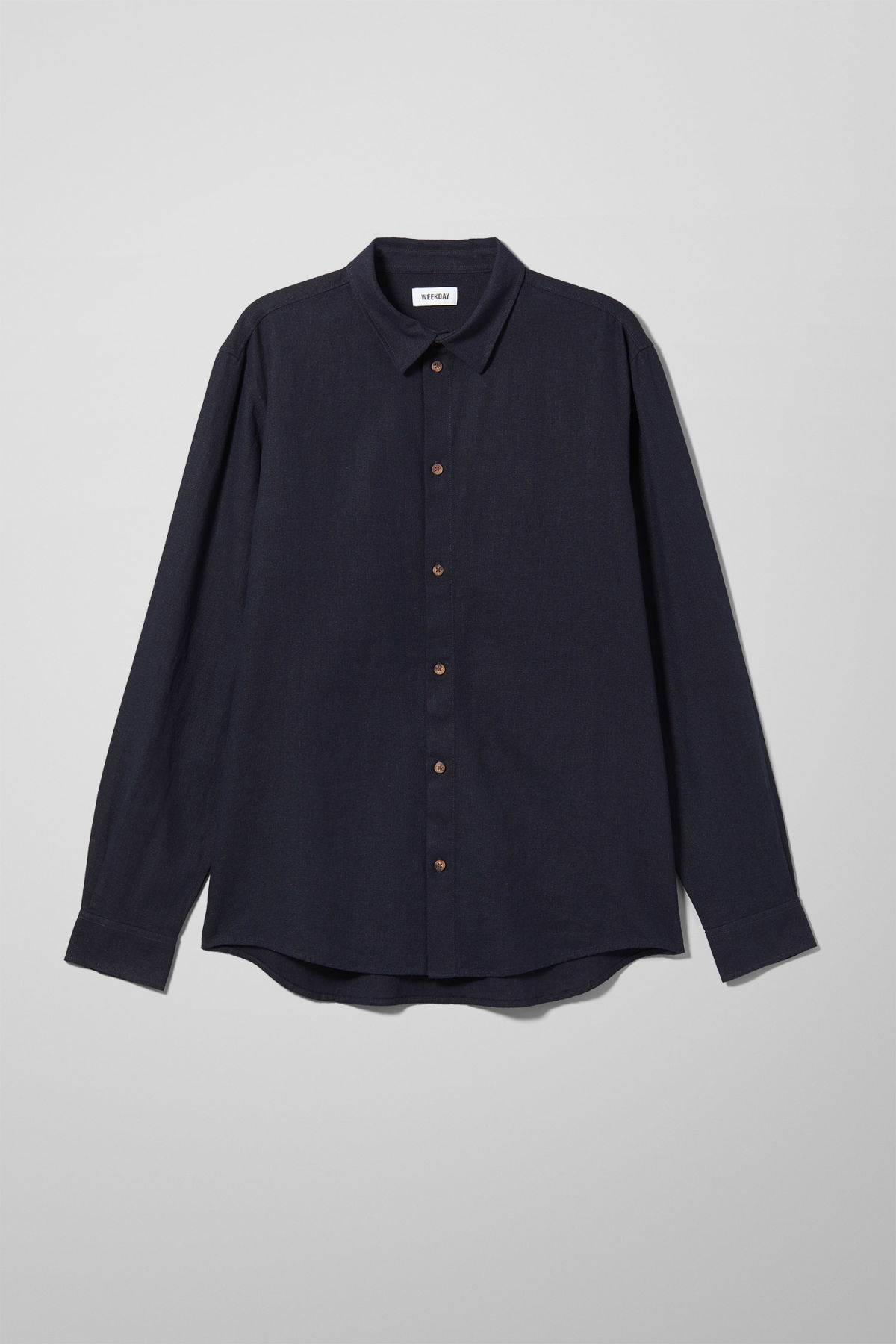 Front image of Weekday lead linen shirt in blue