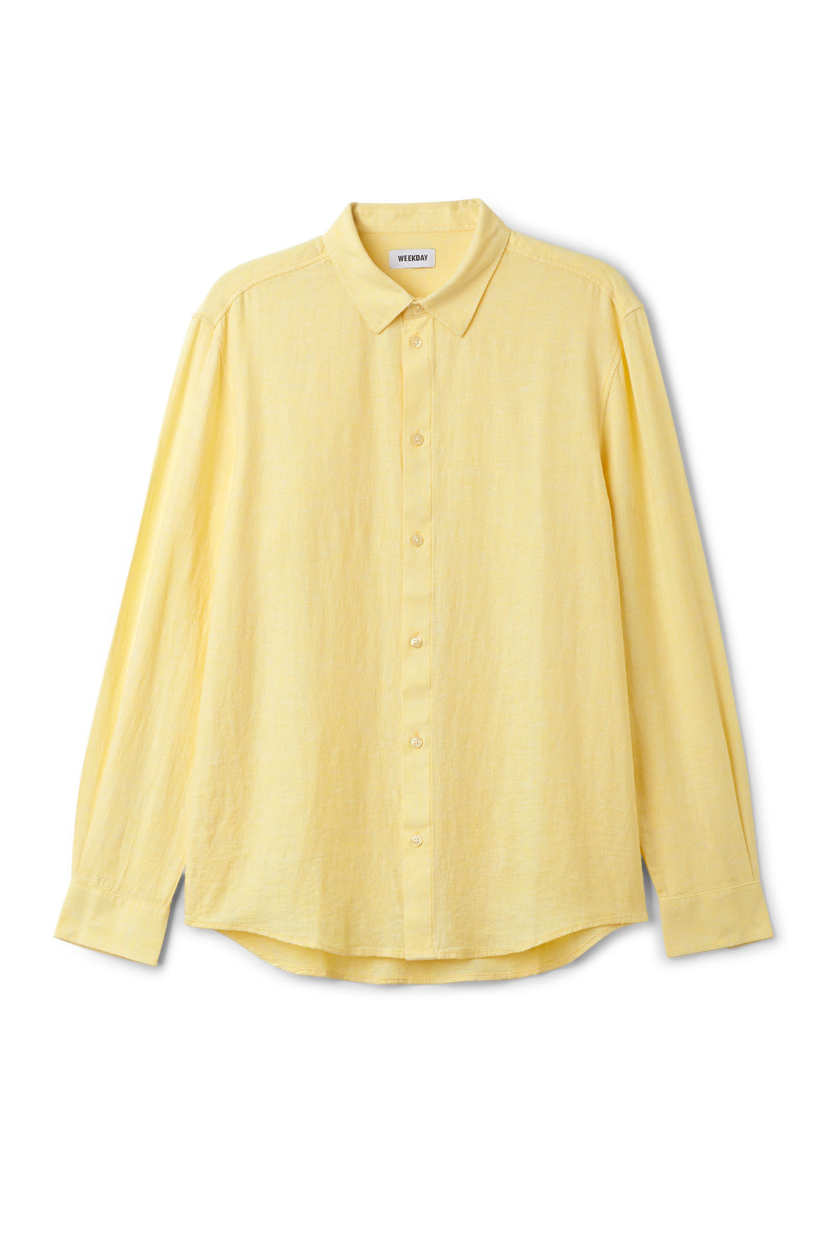 Front image of Weekday lead linen shirt in yellow