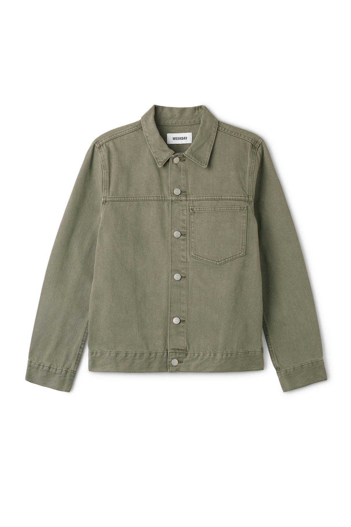 Front image of Weekday core denim jacket  in green