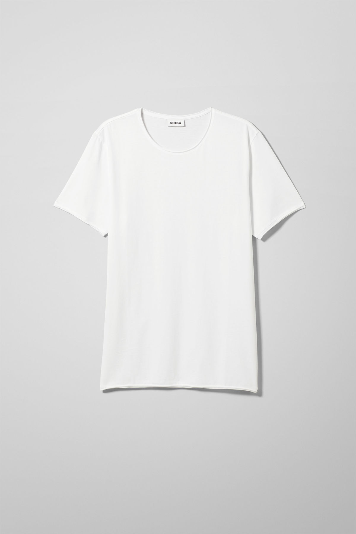 Front image of Weekday dark t-shirt in white