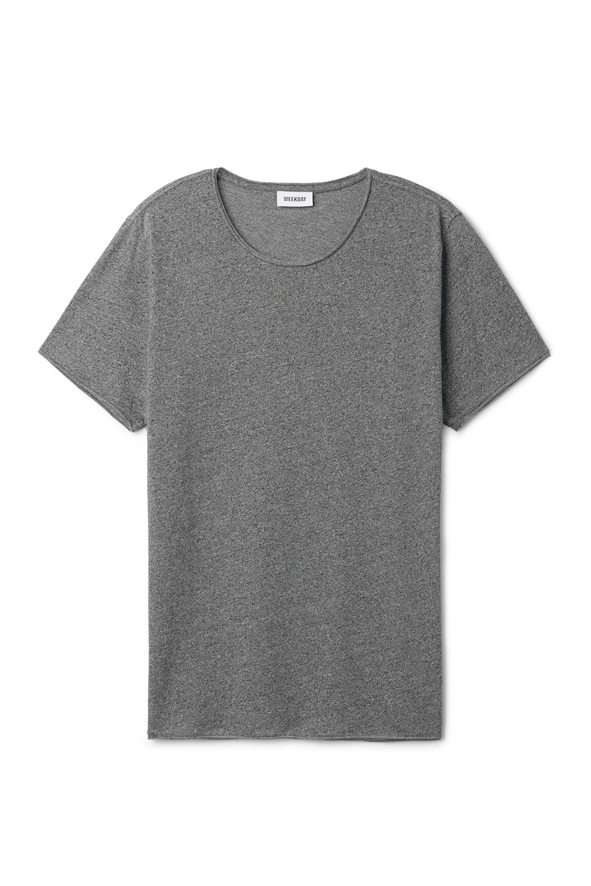 Front image of Weekday dark t-shirt in black
