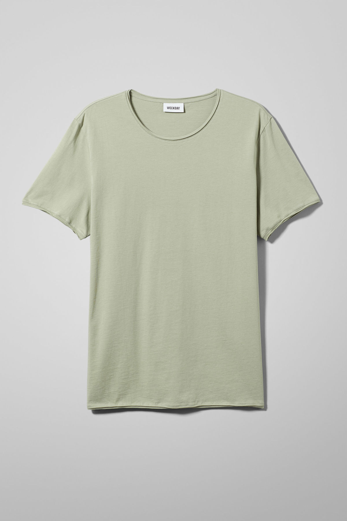 Front image of Weekday dark t-shirt in green