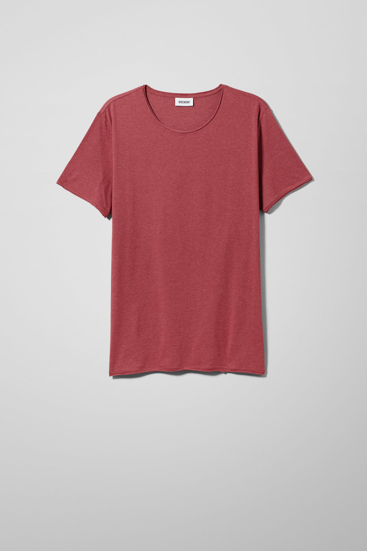 Front image of Weekday dark t-shirt in red