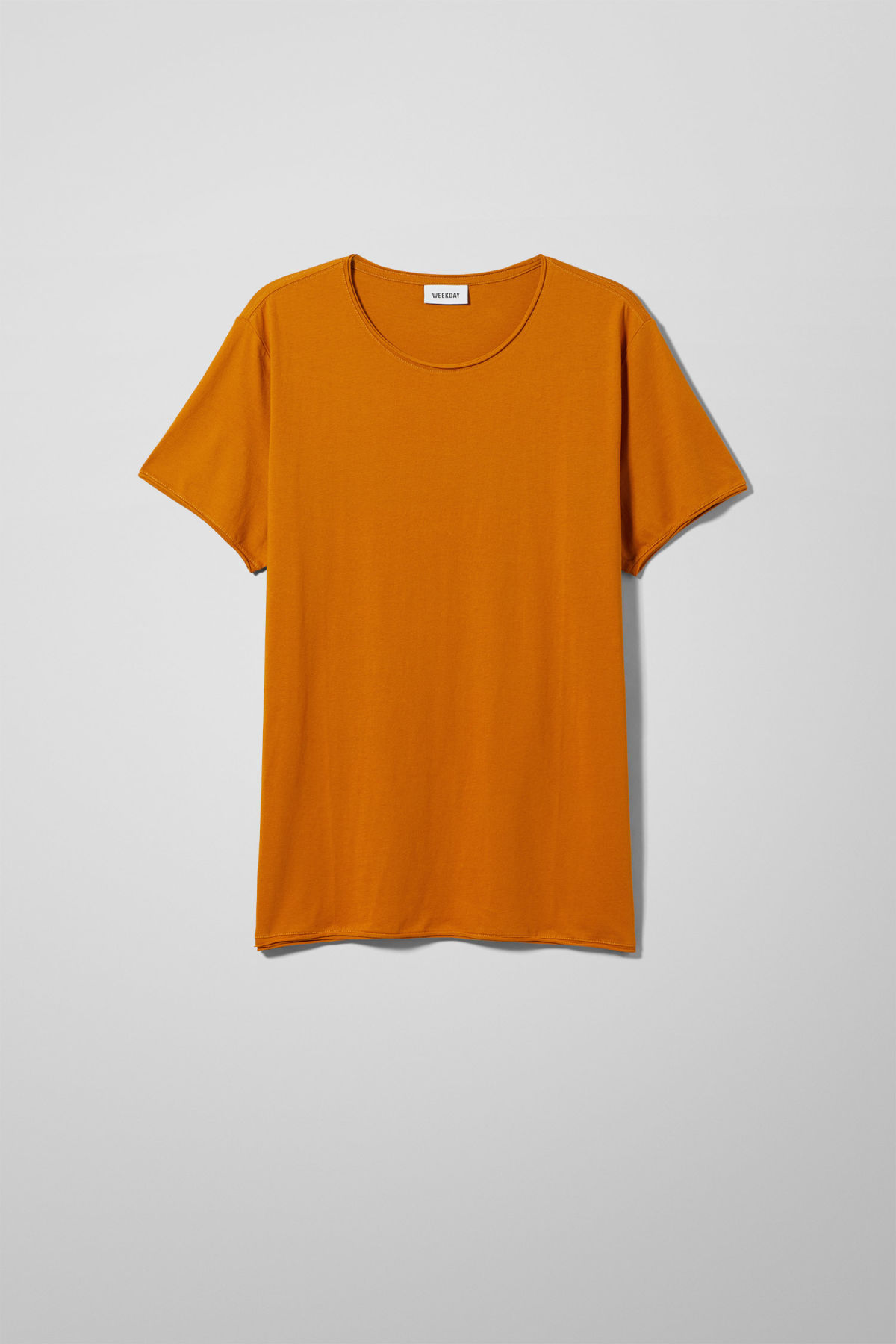 Front image of Weekday dark t-shirt in yellow