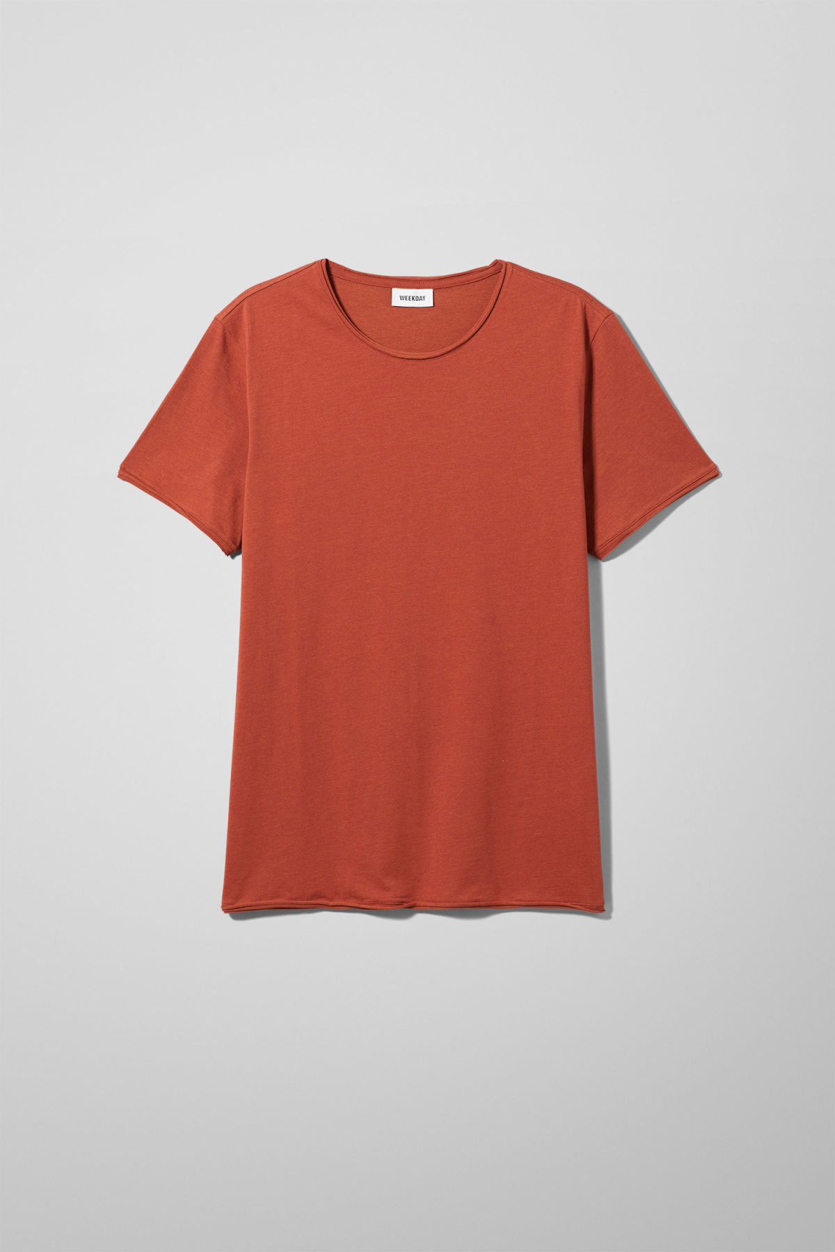 Front image of Weekday dark t-shirt in orange