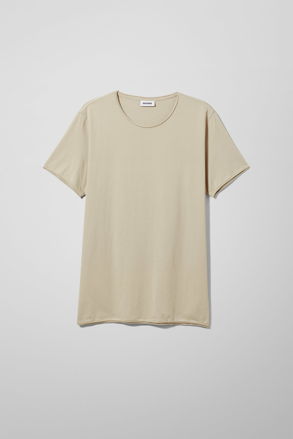 Front image of Weekday dark t-shirt in beige