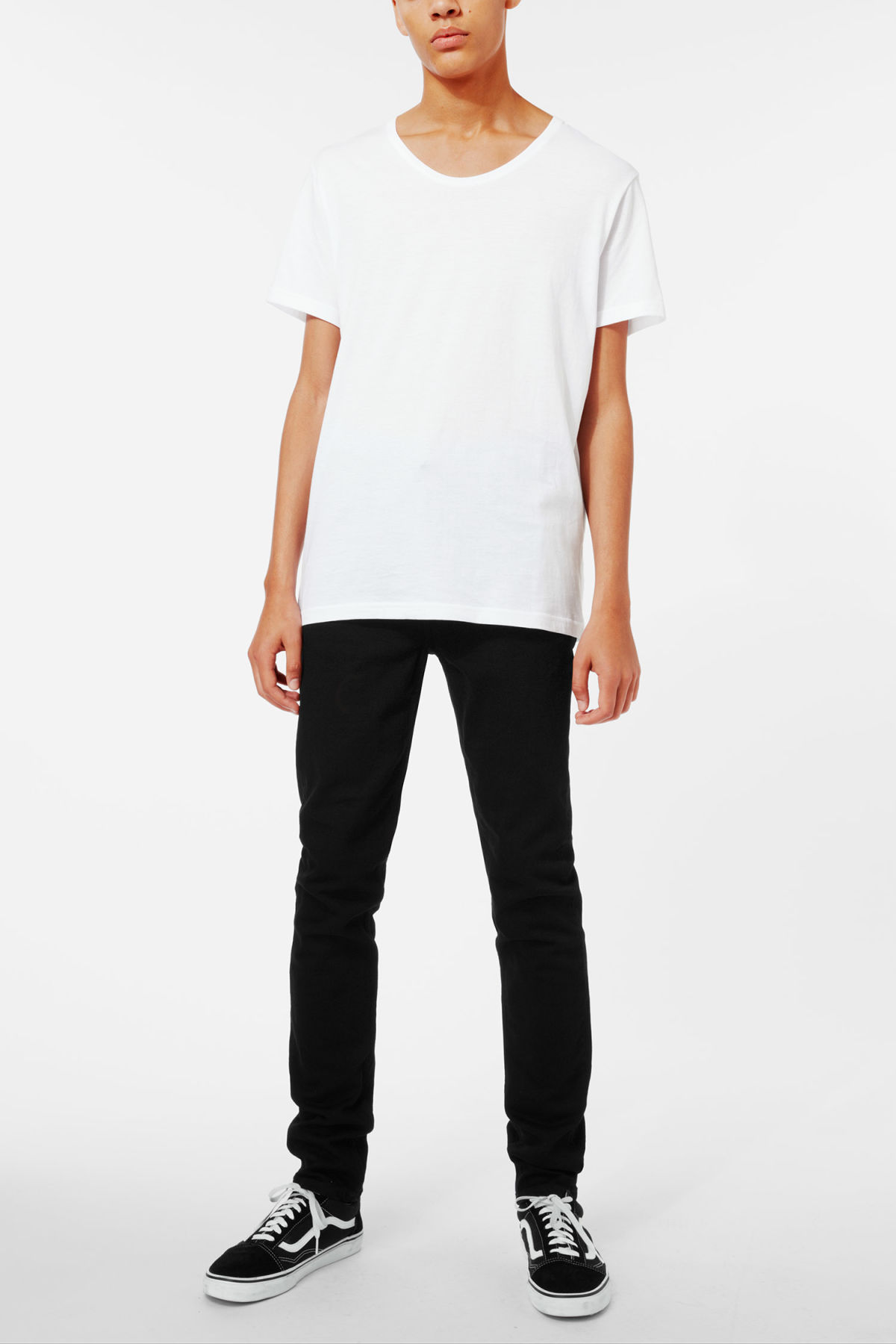 Side image of Weekday daniel t-shirt in white