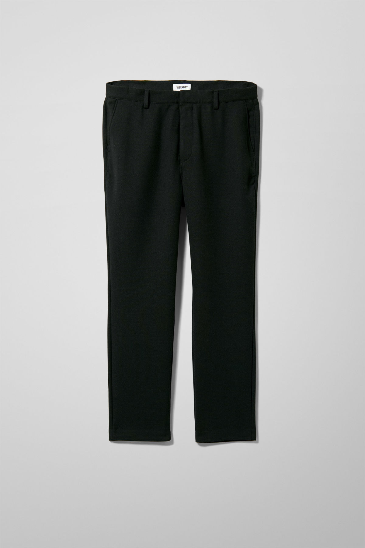 Front image of Weekday arvid trousers in black