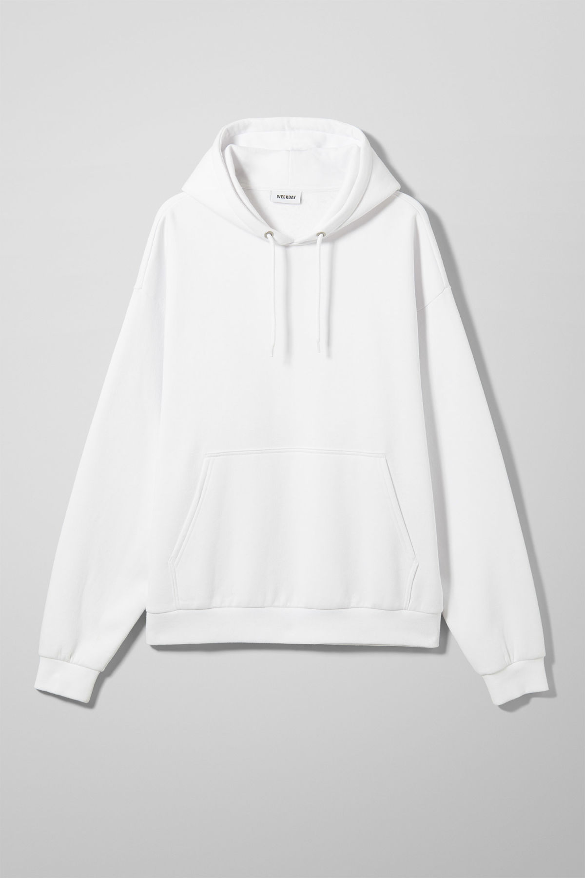 Front image of Weekday big hawk hoodie in white