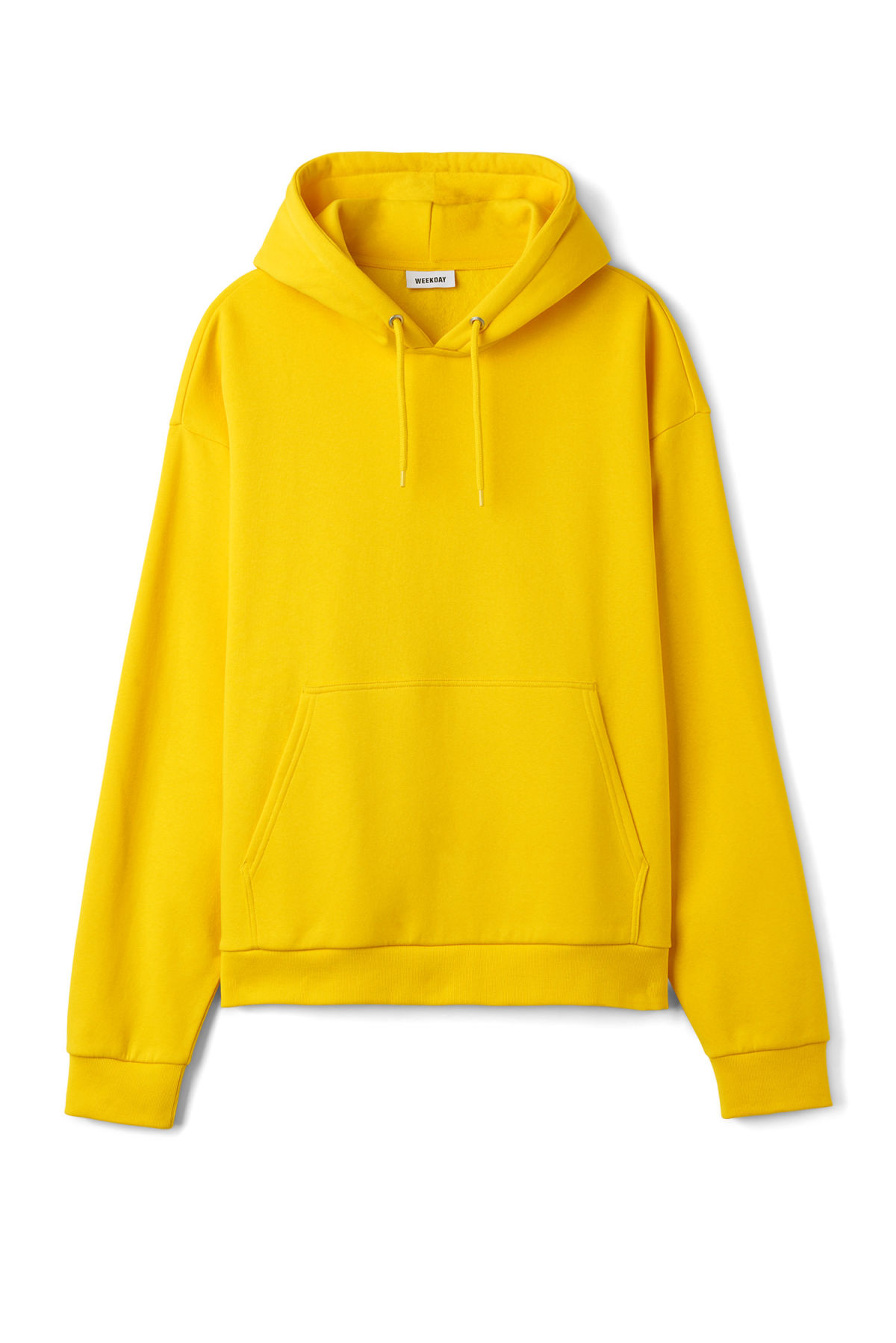 Front image of Weekday big hawk hoodie in yellow