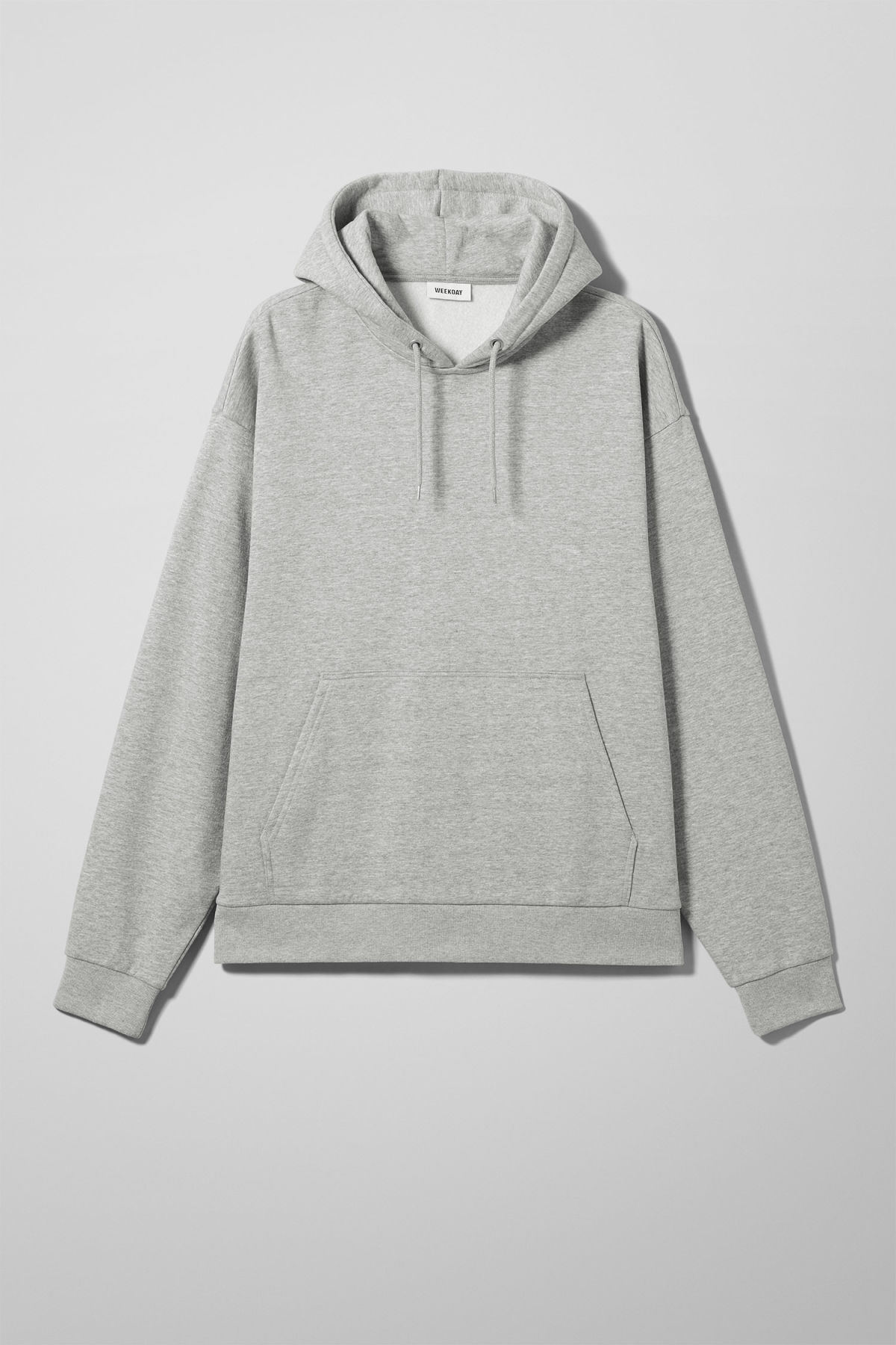 Front image of Weekday big hawk hoodie in grey