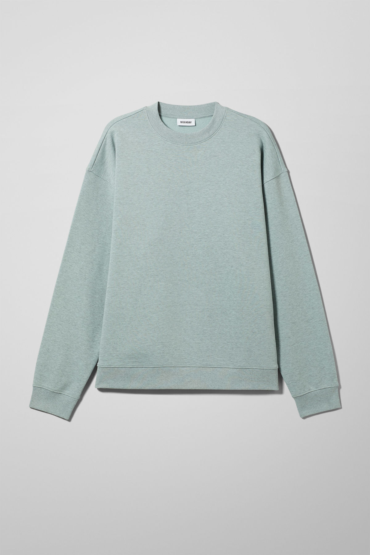 Front image of Weekday big steve sweatshirt in turquoise