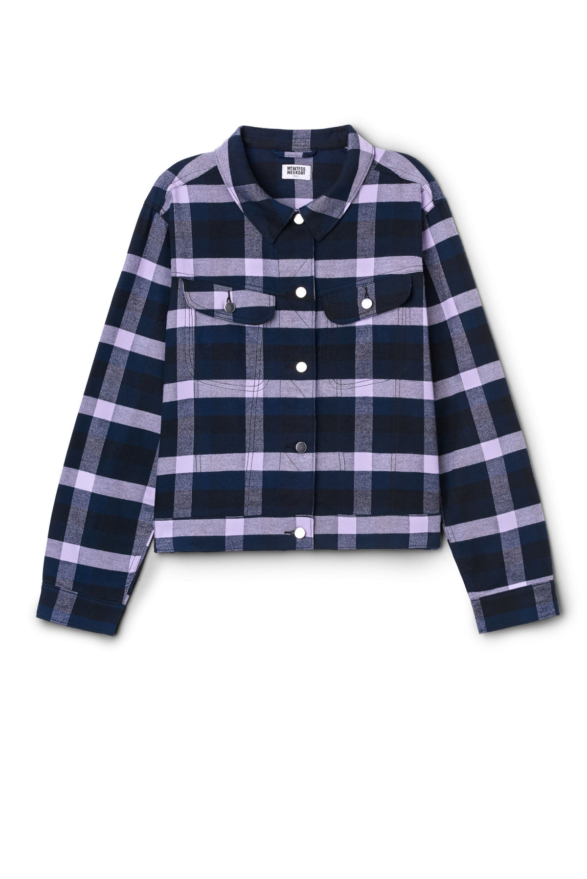 Front image of Weekday swinton shirt in purple