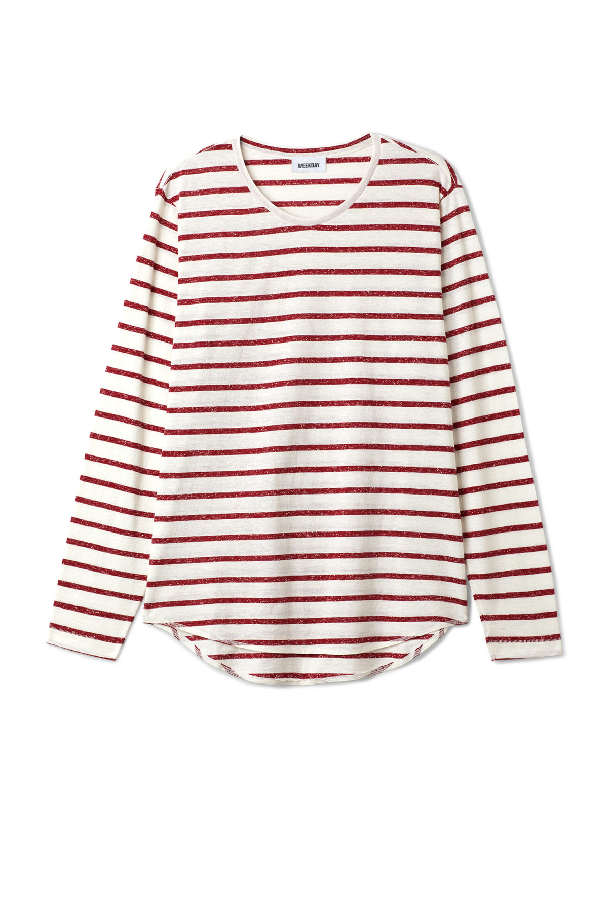 Front image of Weekday boule long sleeve in red
