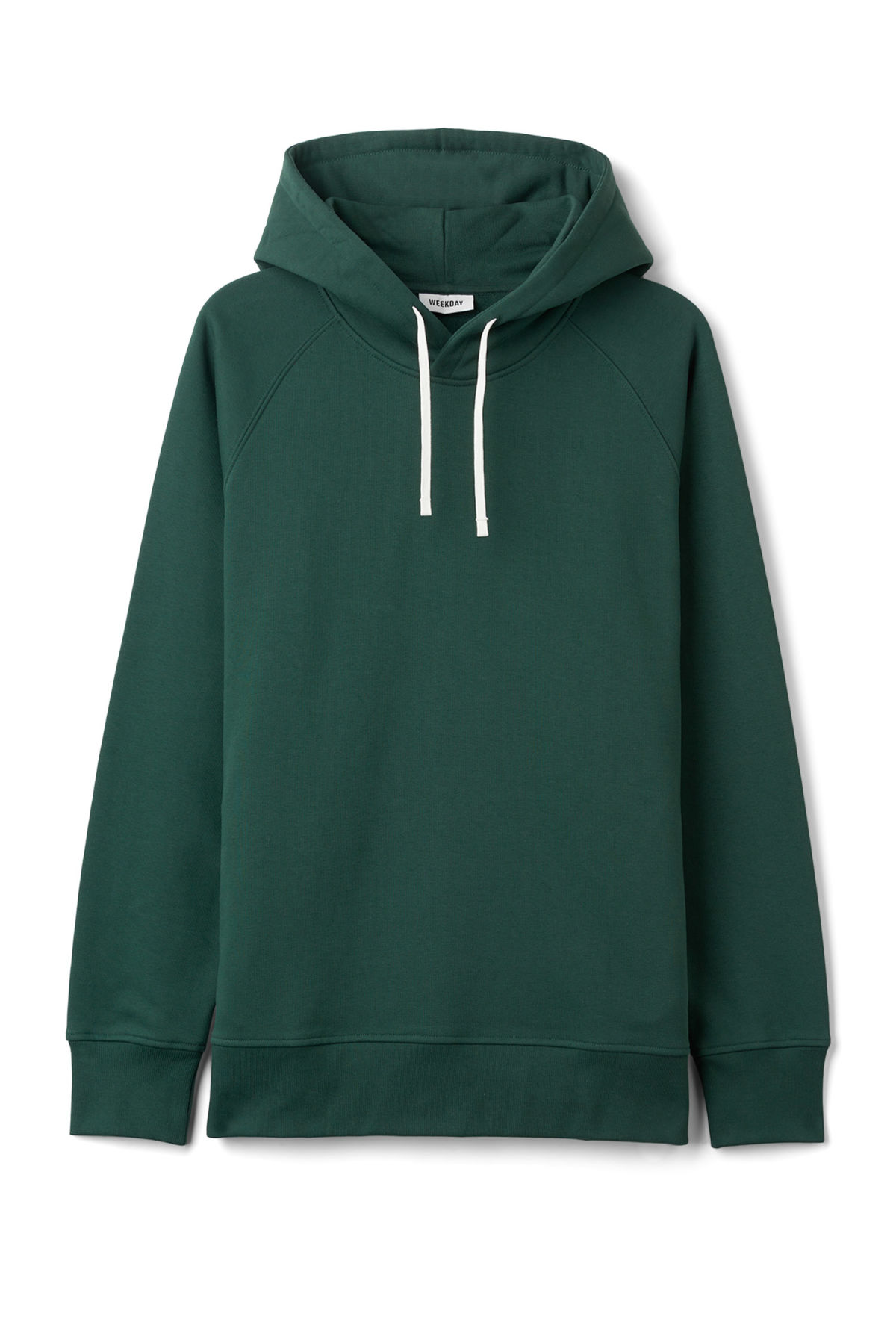 Front image of Weekday there hoodie in turquoise