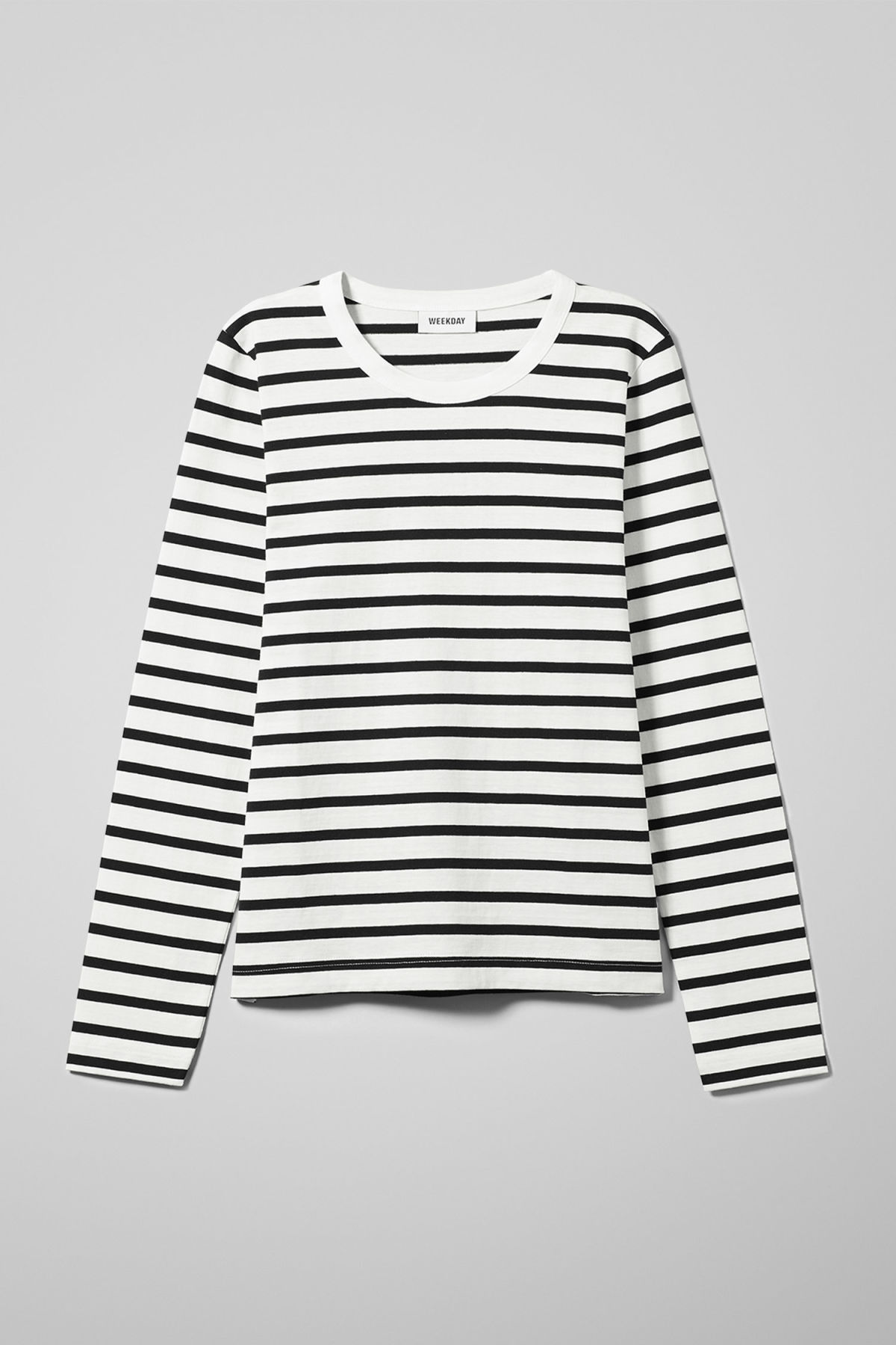 Front image of Weekday kate striped long sleeve in black