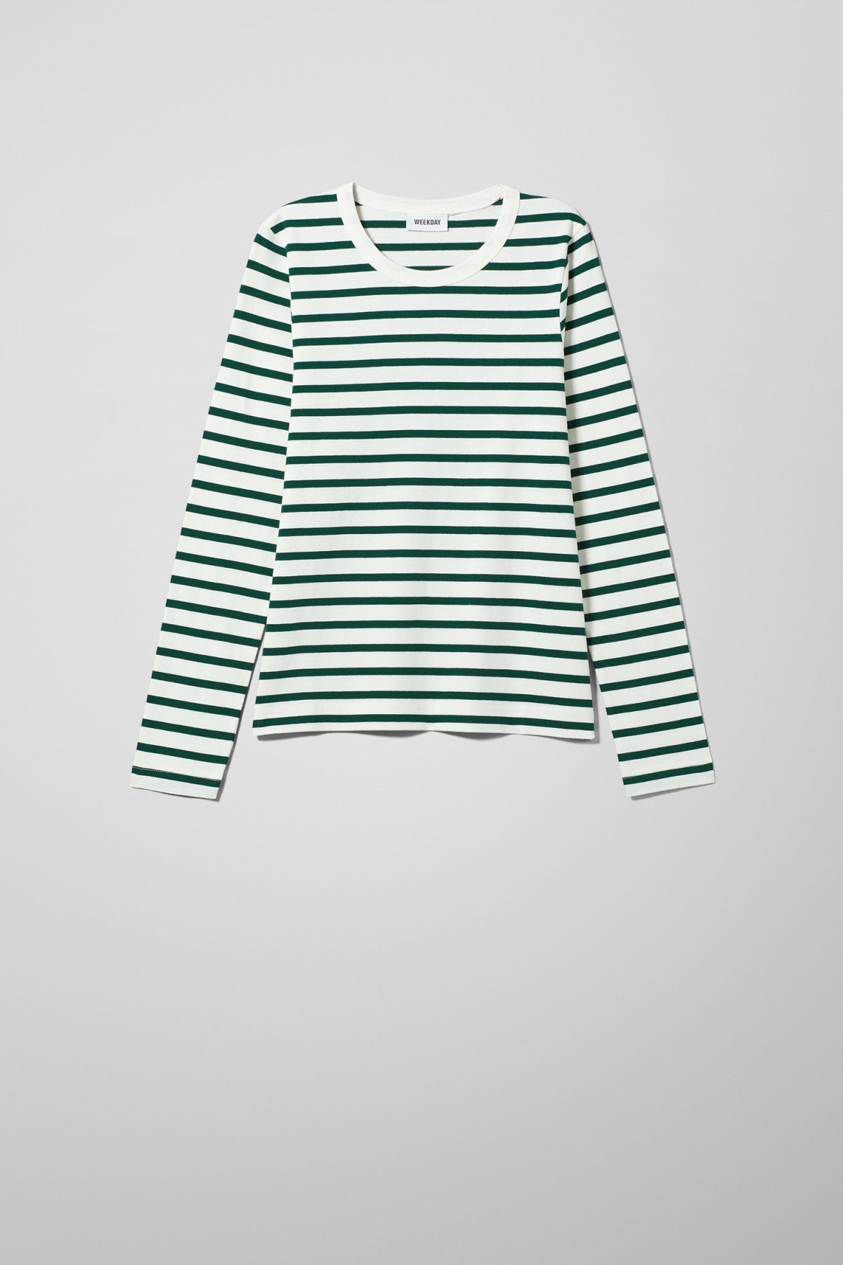 Front image of Weekday kate striped long sleeve in green