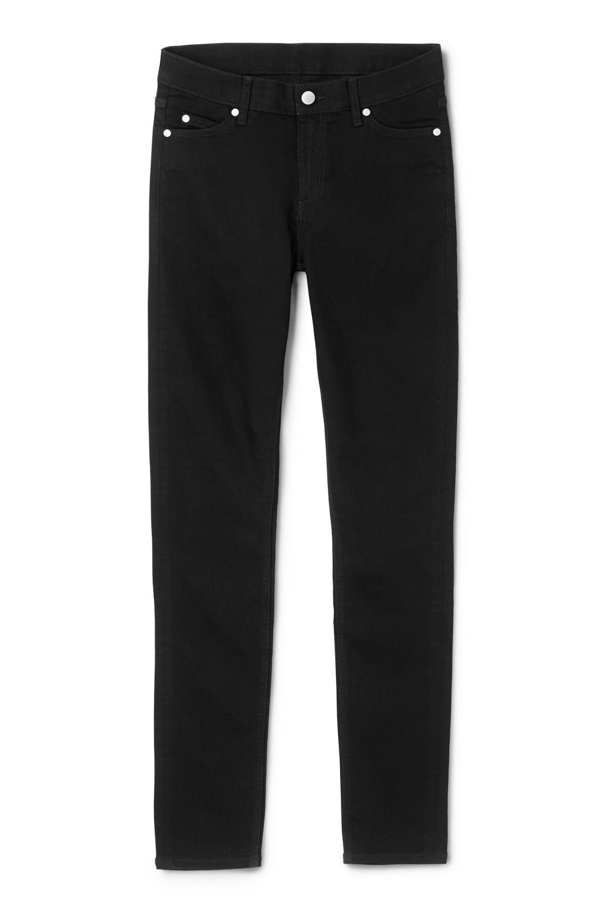 Front image of Weekday him spray black jeans in black
