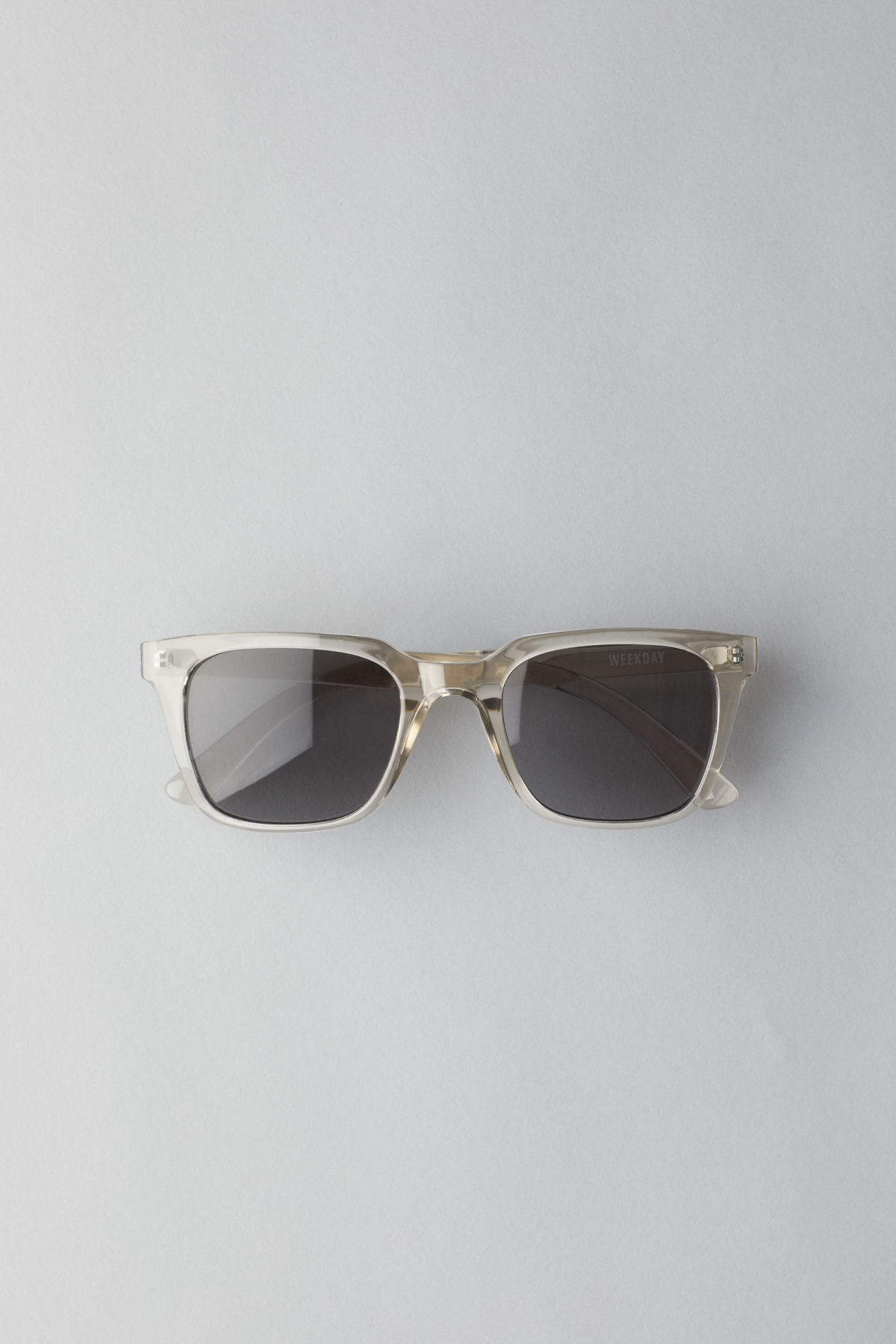 Front image of Weekday gate squared sunglasses in white