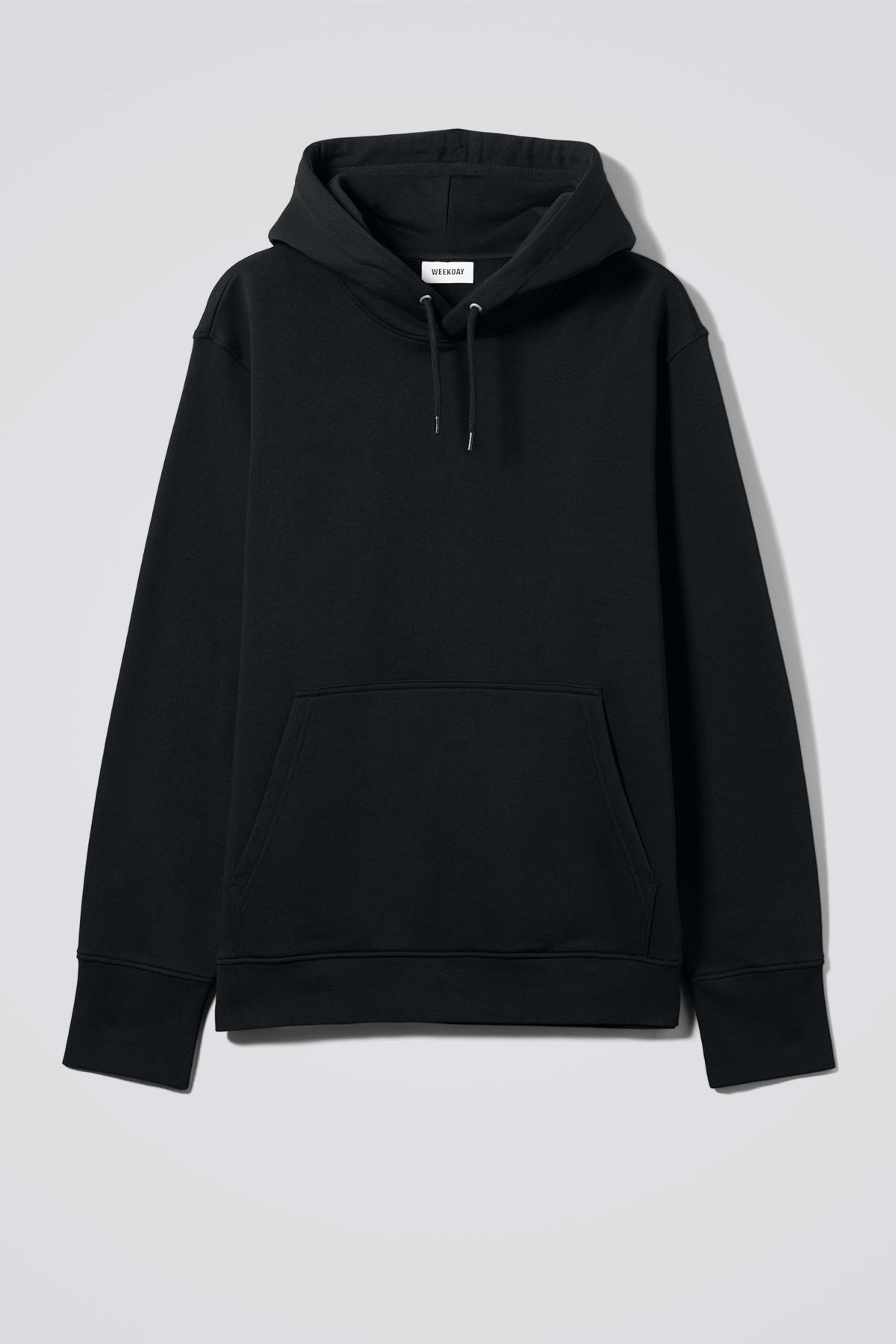 Front image of Weekday hawk hoodie in black