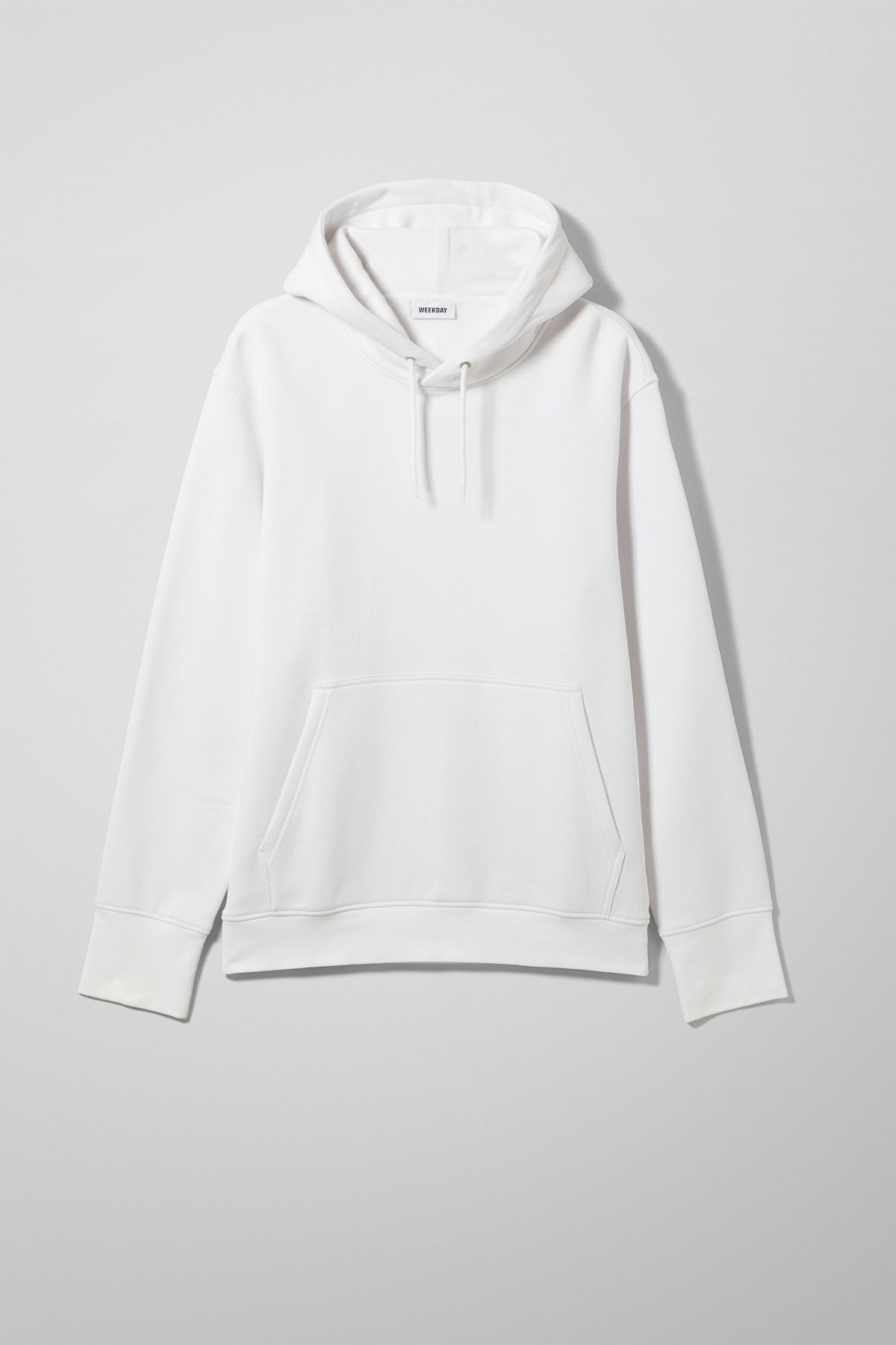 Front image of Weekday hawk hoodie in white