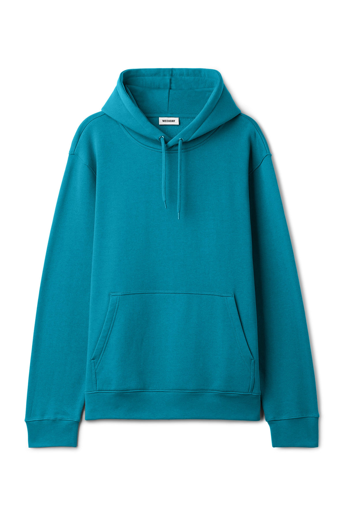 Front image of Weekday hawk hoodie in turquoise
