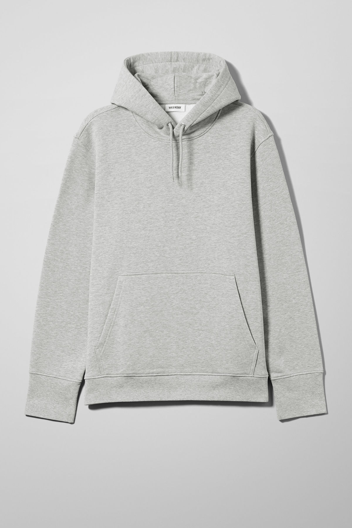 Front image of Weekday hawk hoodie in grey