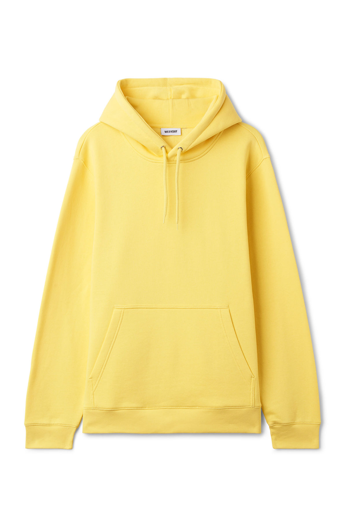 Front image of Weekday hawk hoodie in yellow