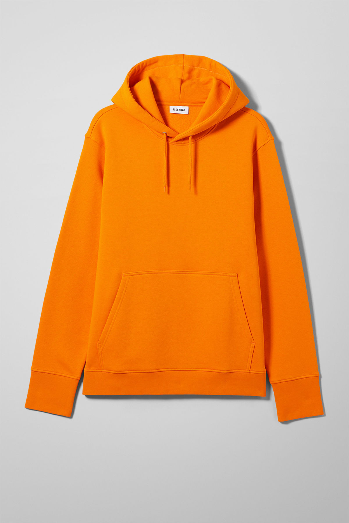 Front image of Weekday hawk hoodie in orange