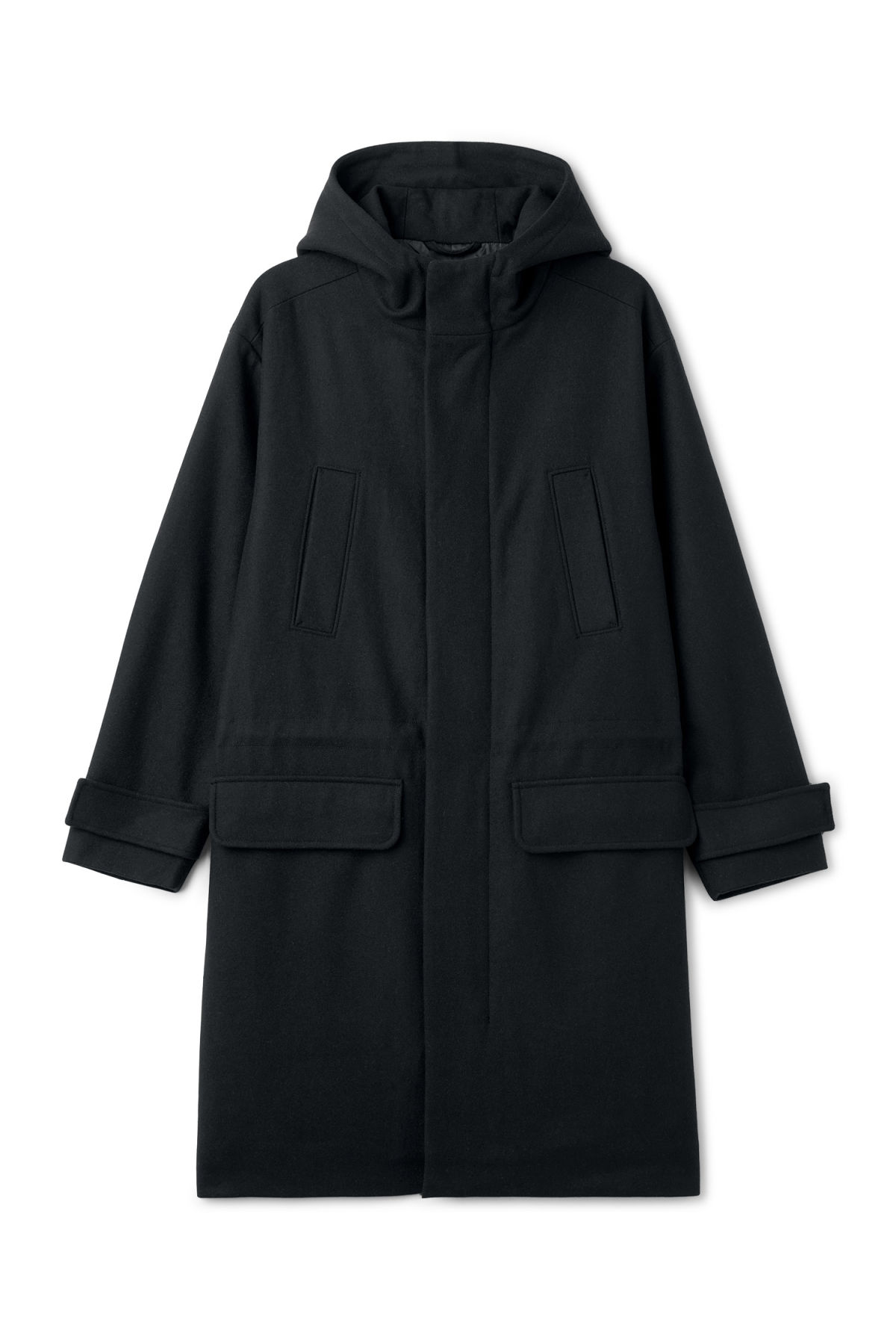 Front image of Weekday john wool parka in blue